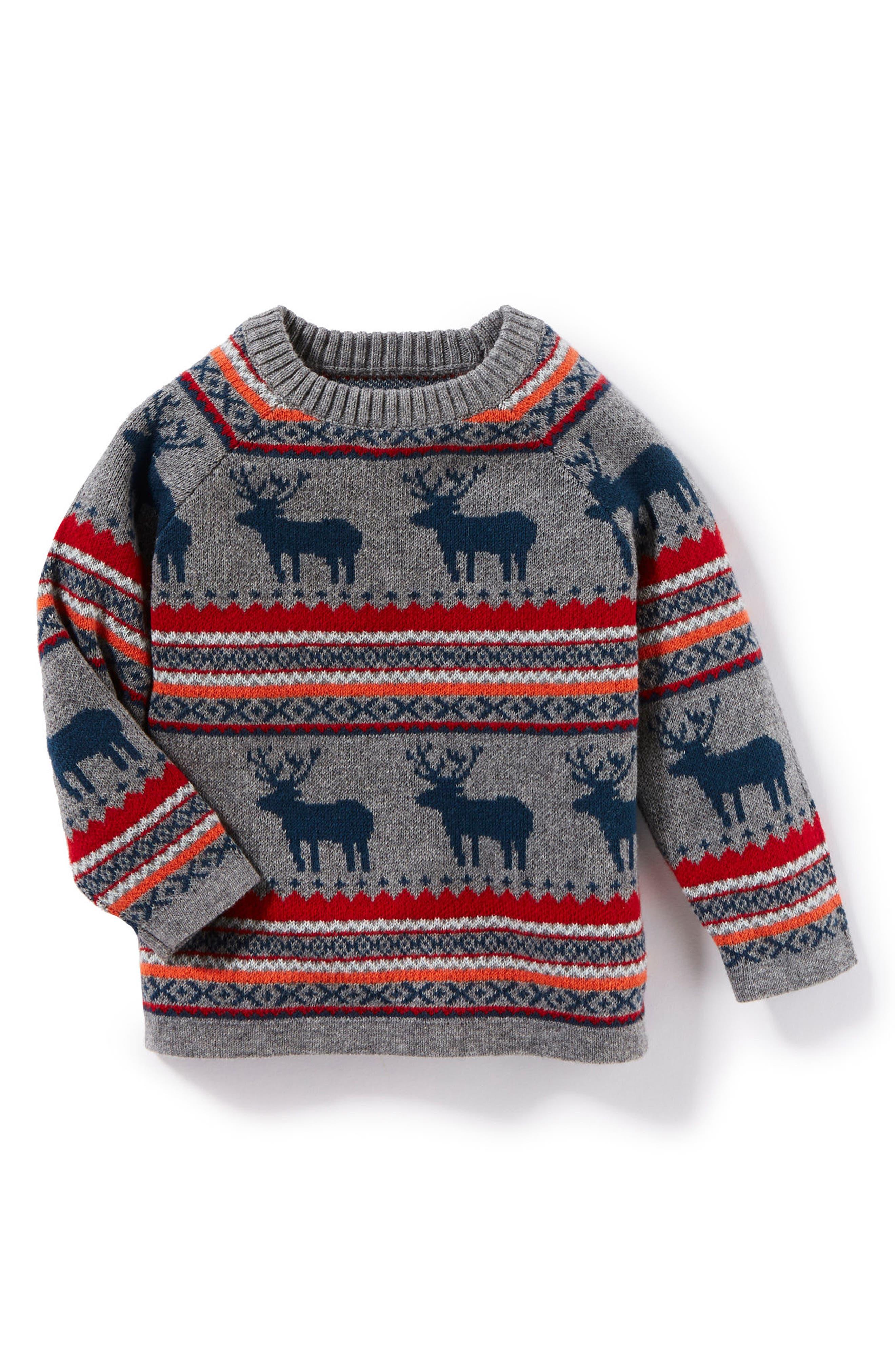 Peek Eli Intarsia Reindeer Sweater,                         Main,                         color, Heather Grey