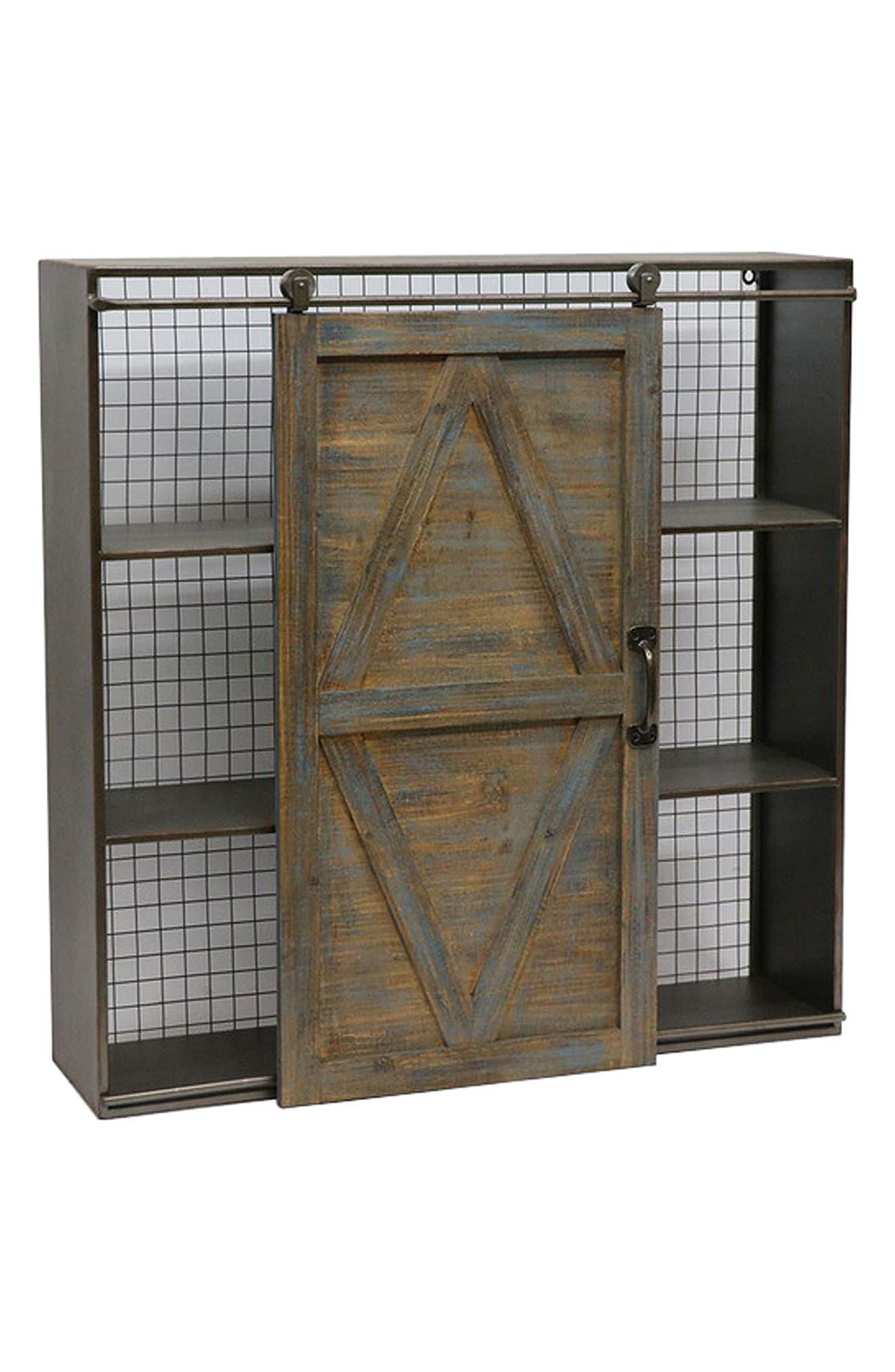Sliding Door Bookshelf,                         Main,                         color, Brown
