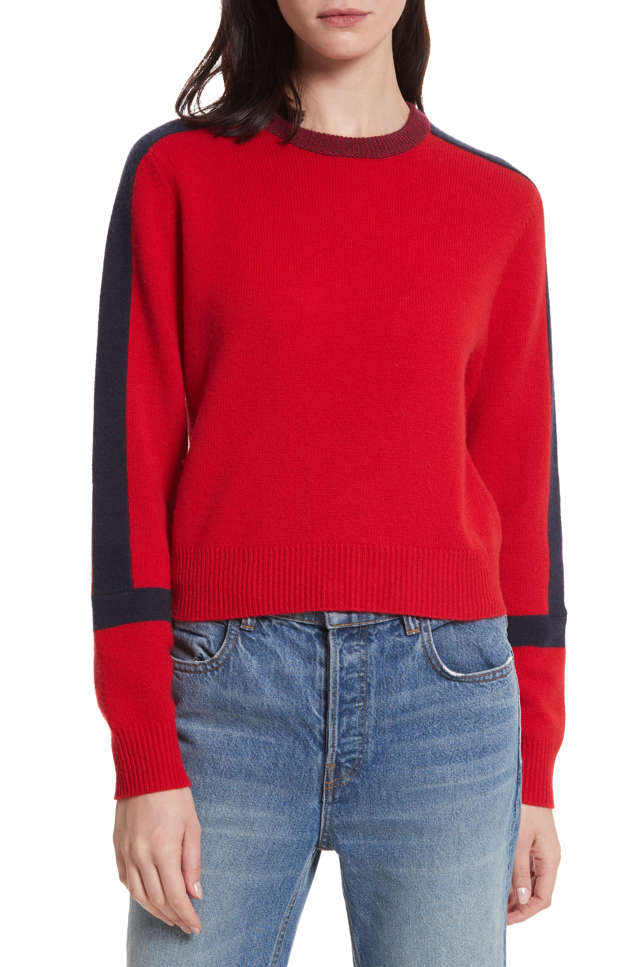 Bold Stripe Cashmere Sweater,                         Main,                         color, Red/ Navy