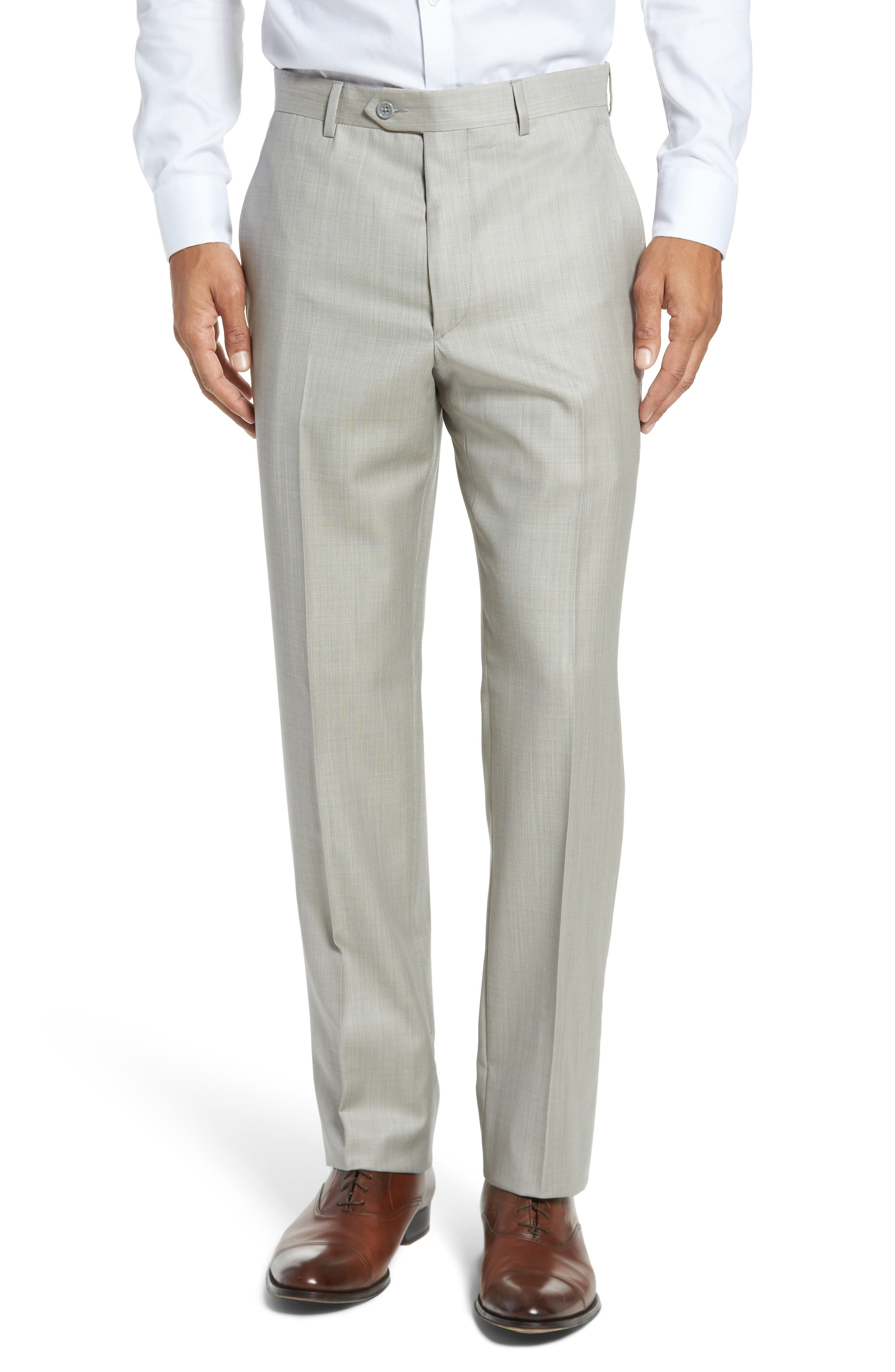 Flat Front Solid Wool Trousers,                         Main,                         color, Sand