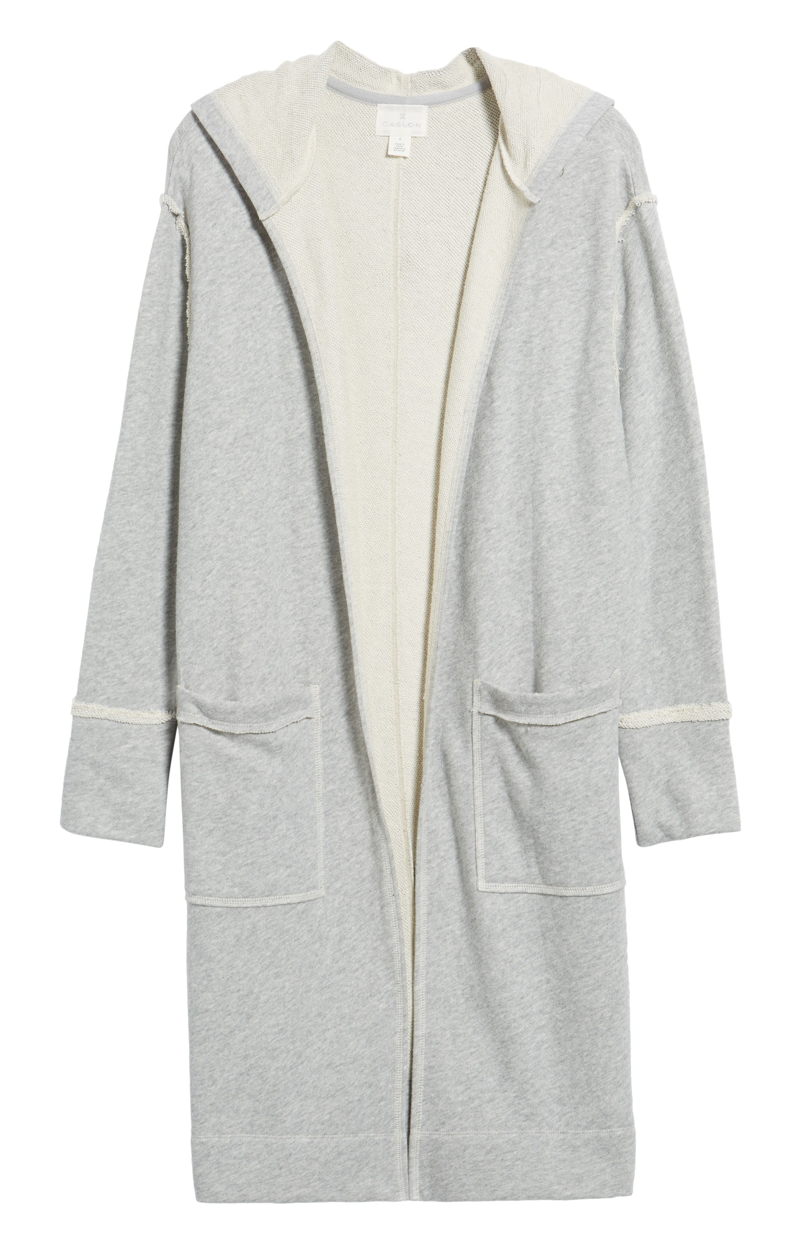 Hooded Long Cardigan,                             Alternate thumbnail 6, color,                             Grey Heather