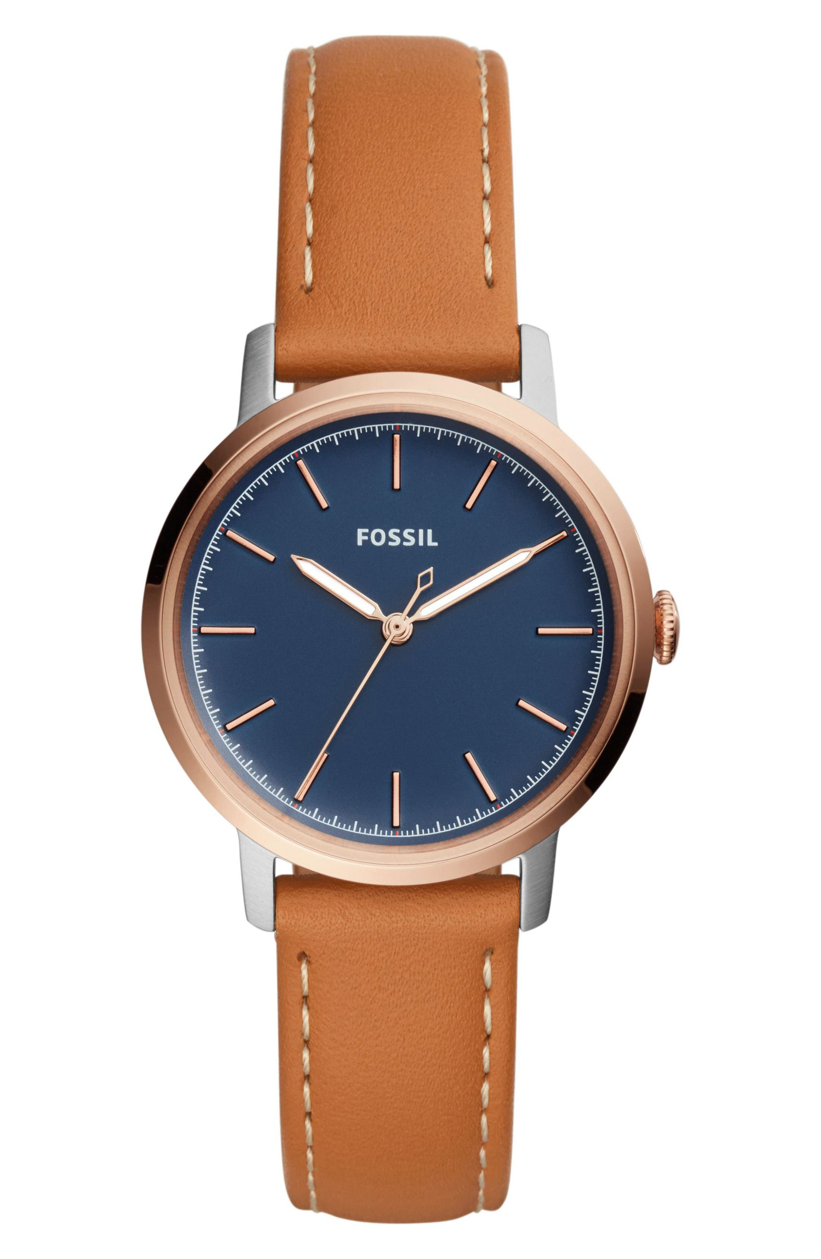 Alternate Image 1 Selected - Fossil Neely Leather Strap Watch, 34mm