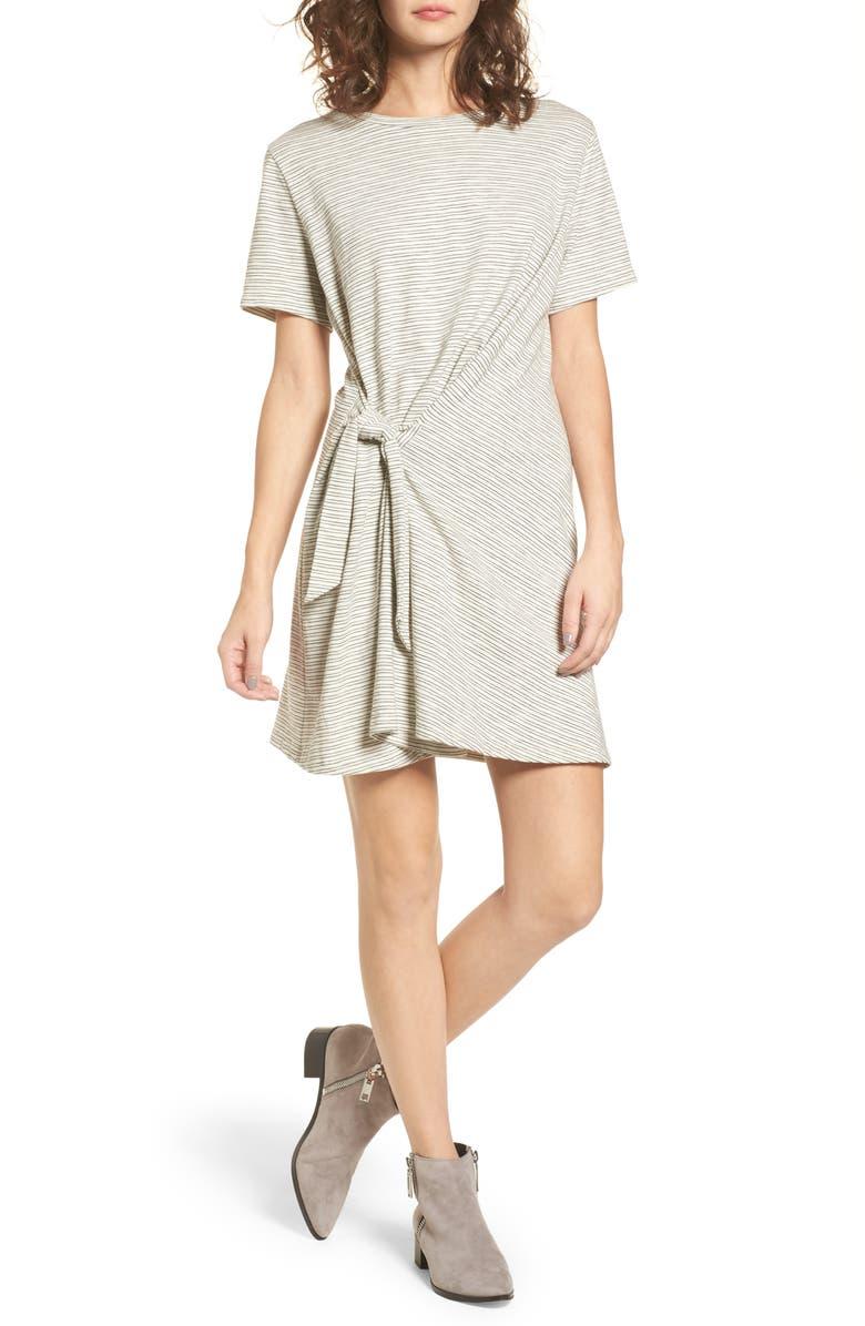 Side Knot Tee Dress,                         Main,                         color, Ivory/ Black Stripe