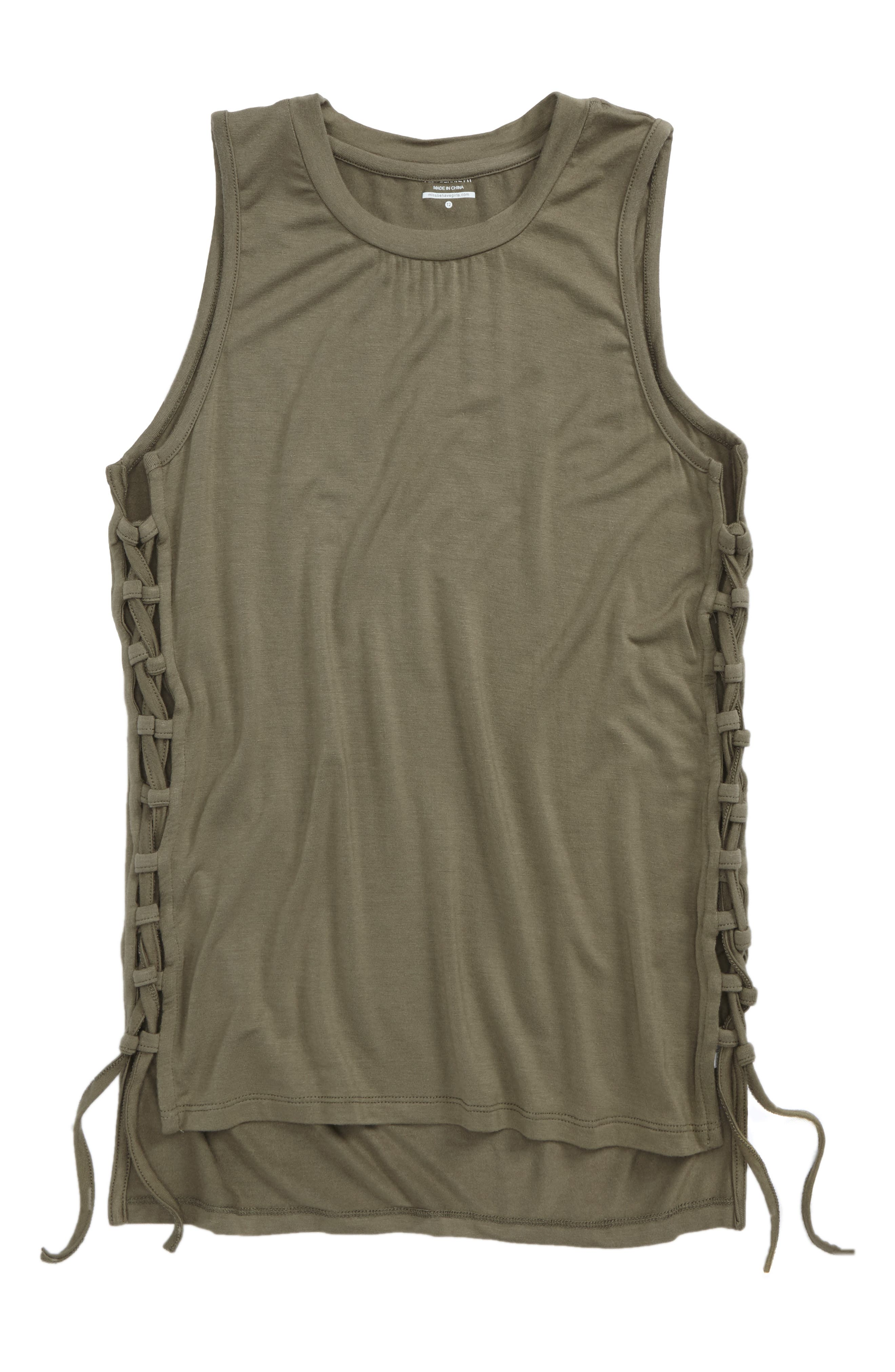 Margo Side Tie Tank,                         Main,                         color, Olive