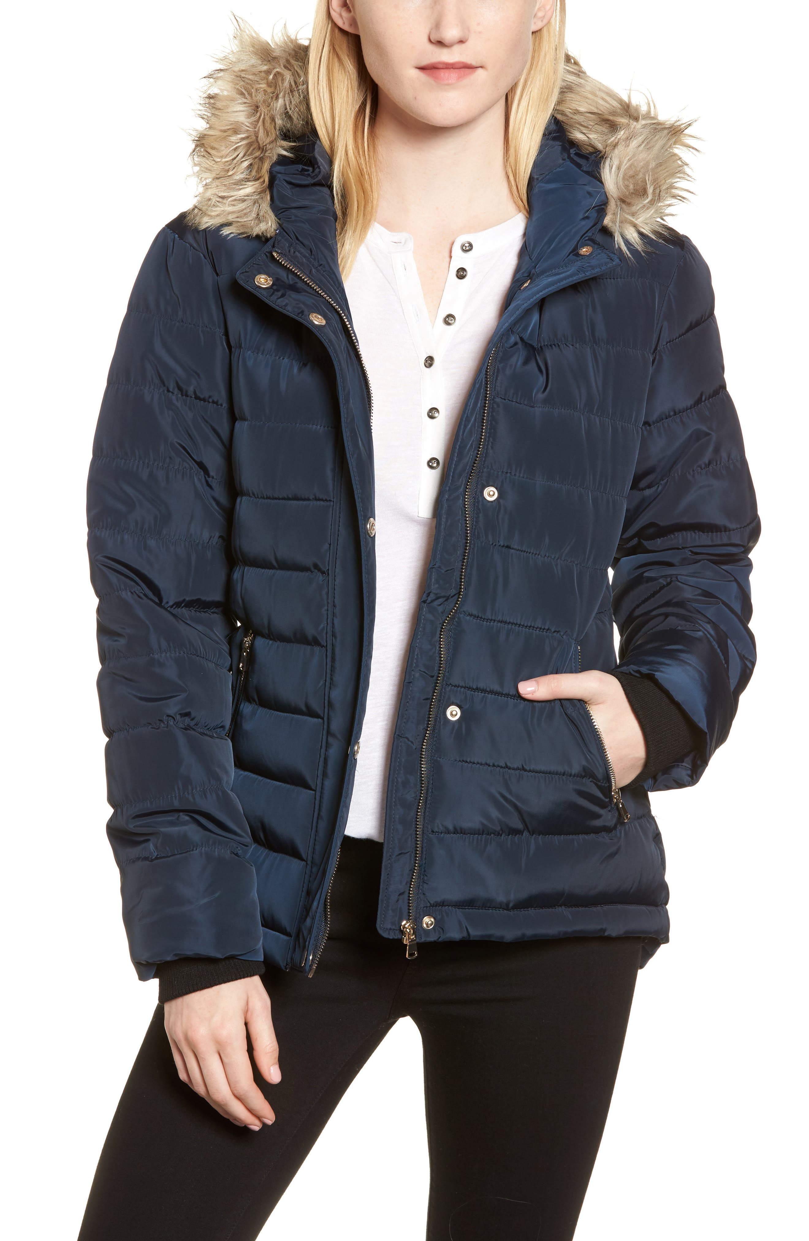 Faux Fur Trim Hooded Puffer Jacket,                             Main thumbnail 1, color,                             Navy