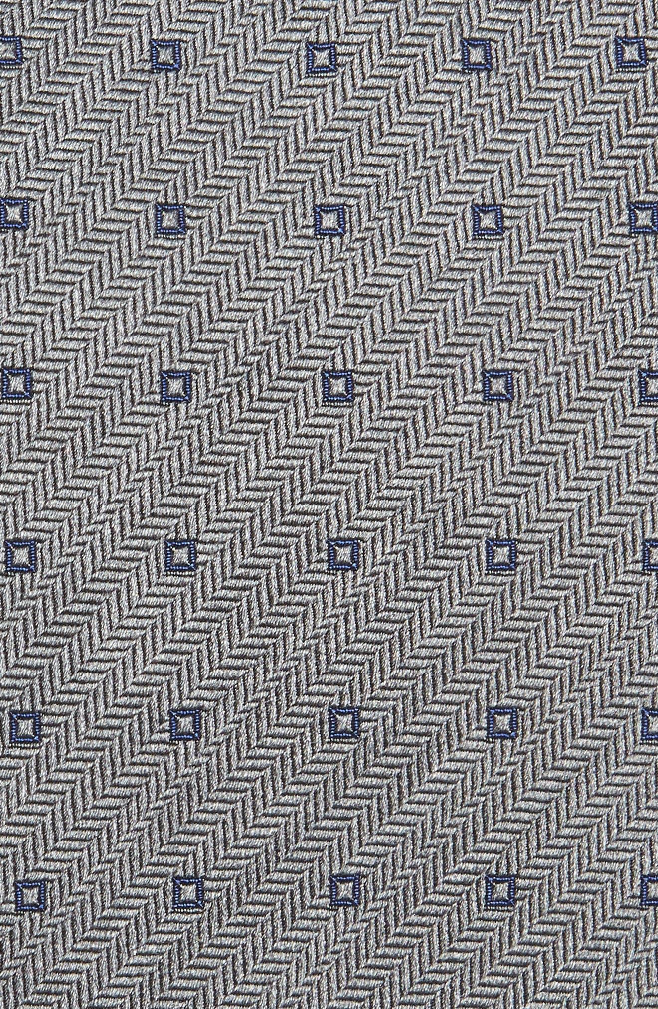 Square Dot Silk Tie,                             Alternate thumbnail 2, color,                             Charcoal/ Blue