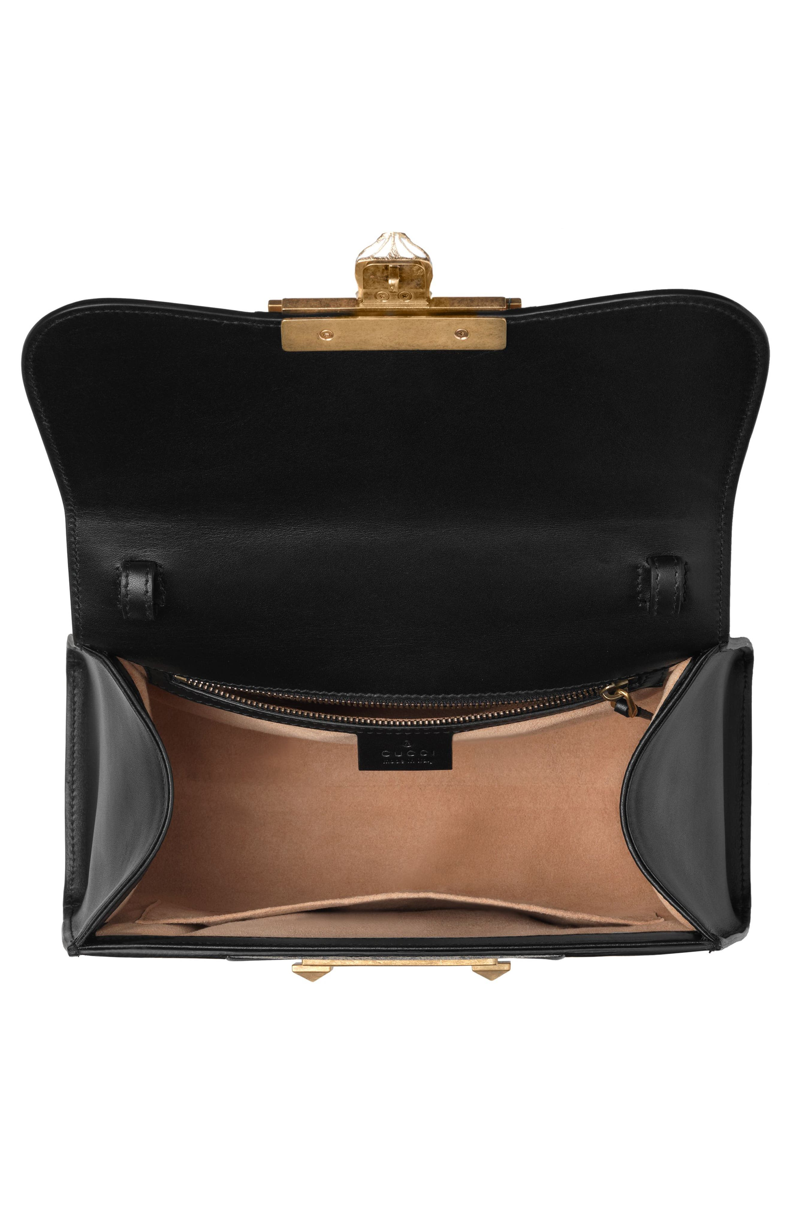 Small Osiride Leather & Canvas Top Handle Satchel,                             Alternate thumbnail 3, color,                             Nero/ Gold/ Beige Ebony