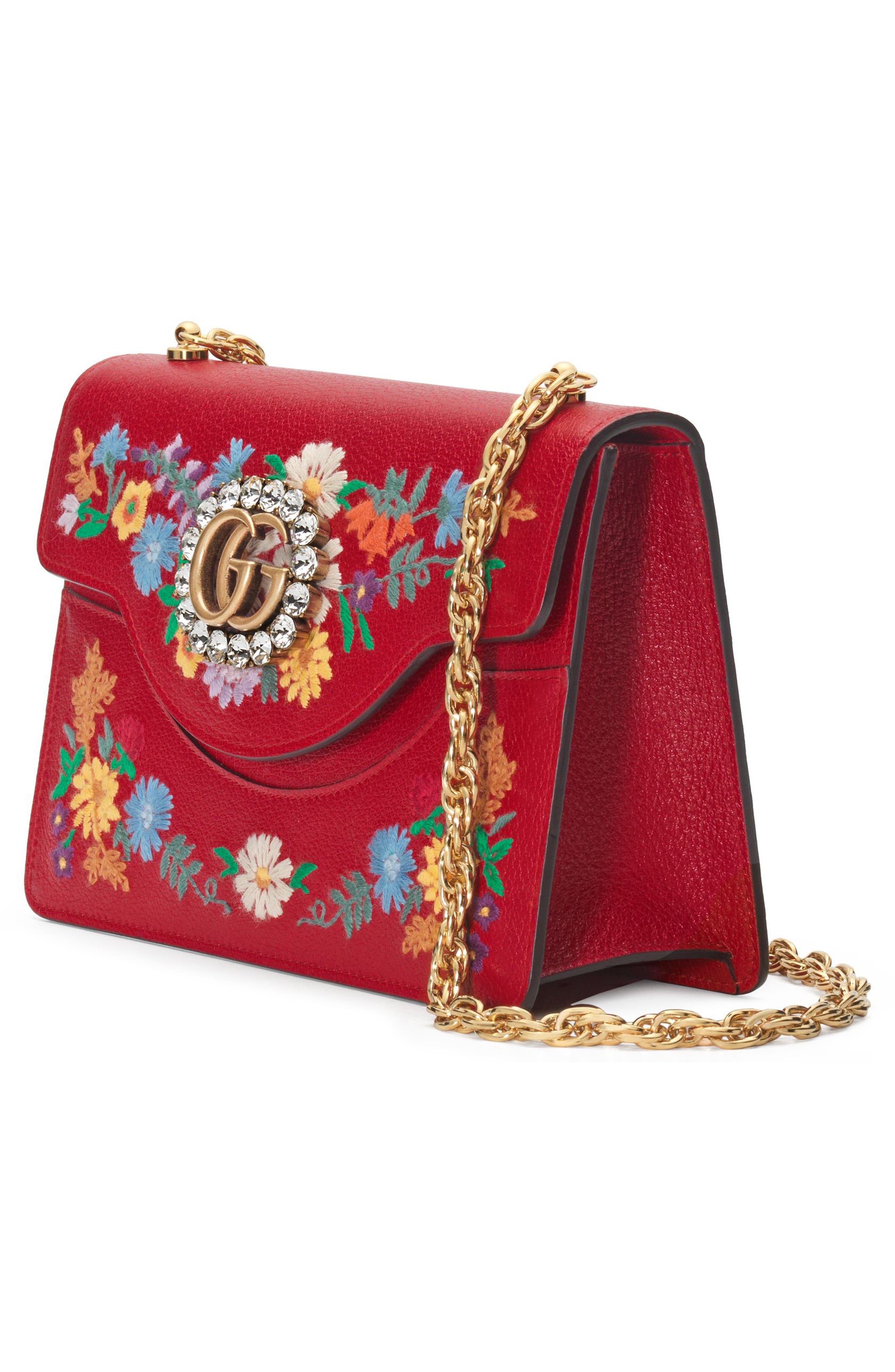 Small Linea Ricami Floral Embroidered Shoulder Bag,                             Alternate thumbnail 2, color,                             Hibiscus Red Multi