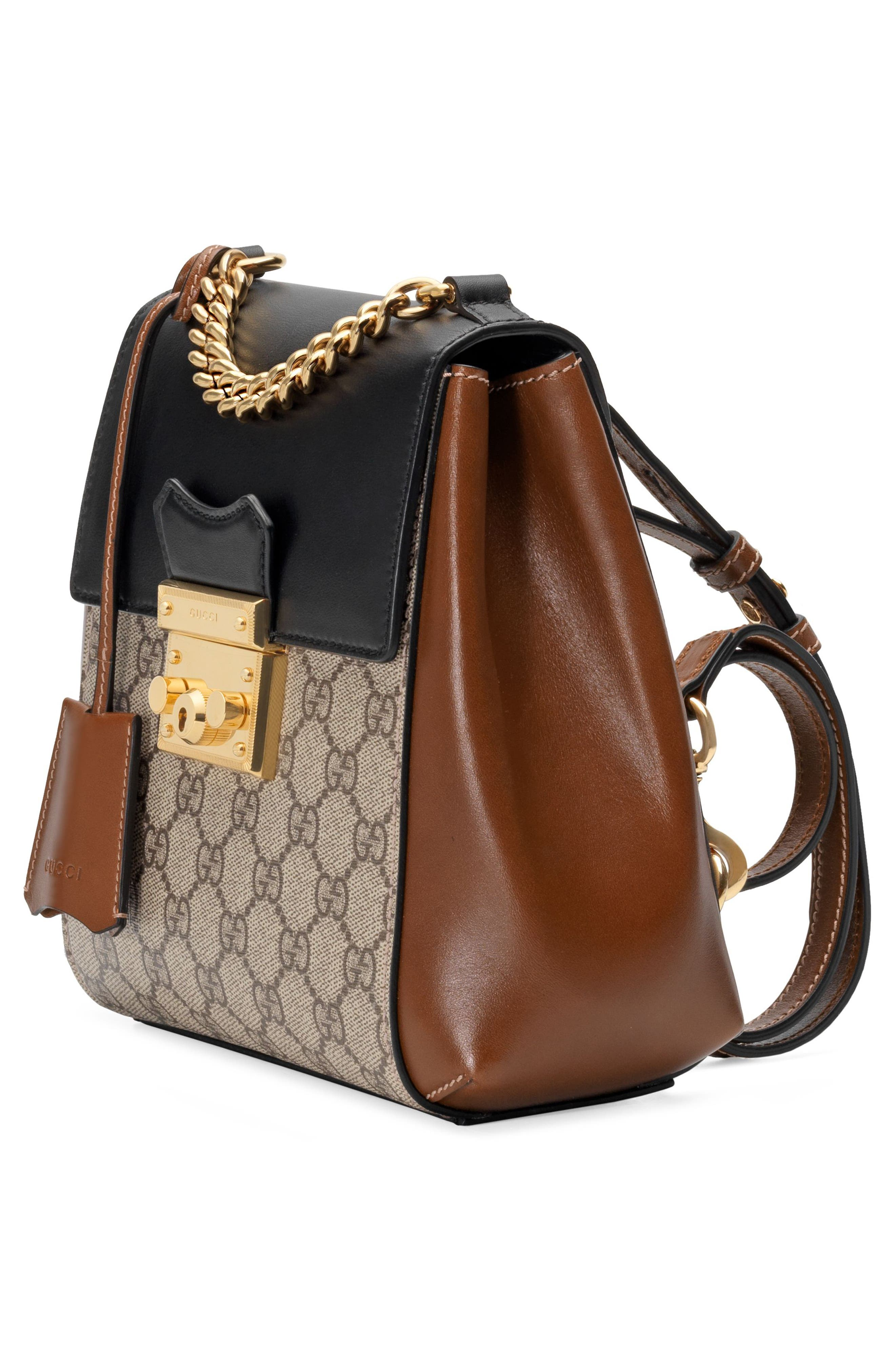GG Supreme Canvas & Leather Padlock Backpack,                             Alternate thumbnail 4, color,                             Beige Ebony/ Nero/ Cuir