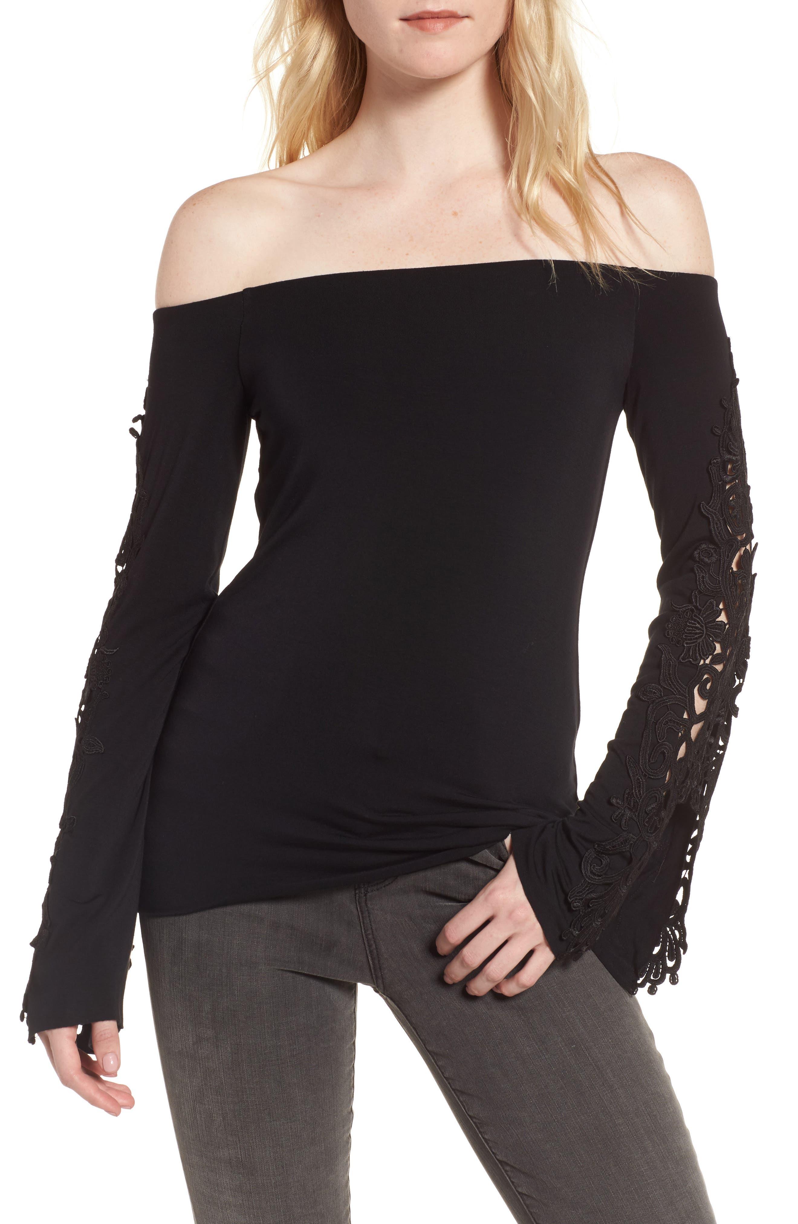 Nocturnal Off the Shoulder Top,                         Main,                         color, Black