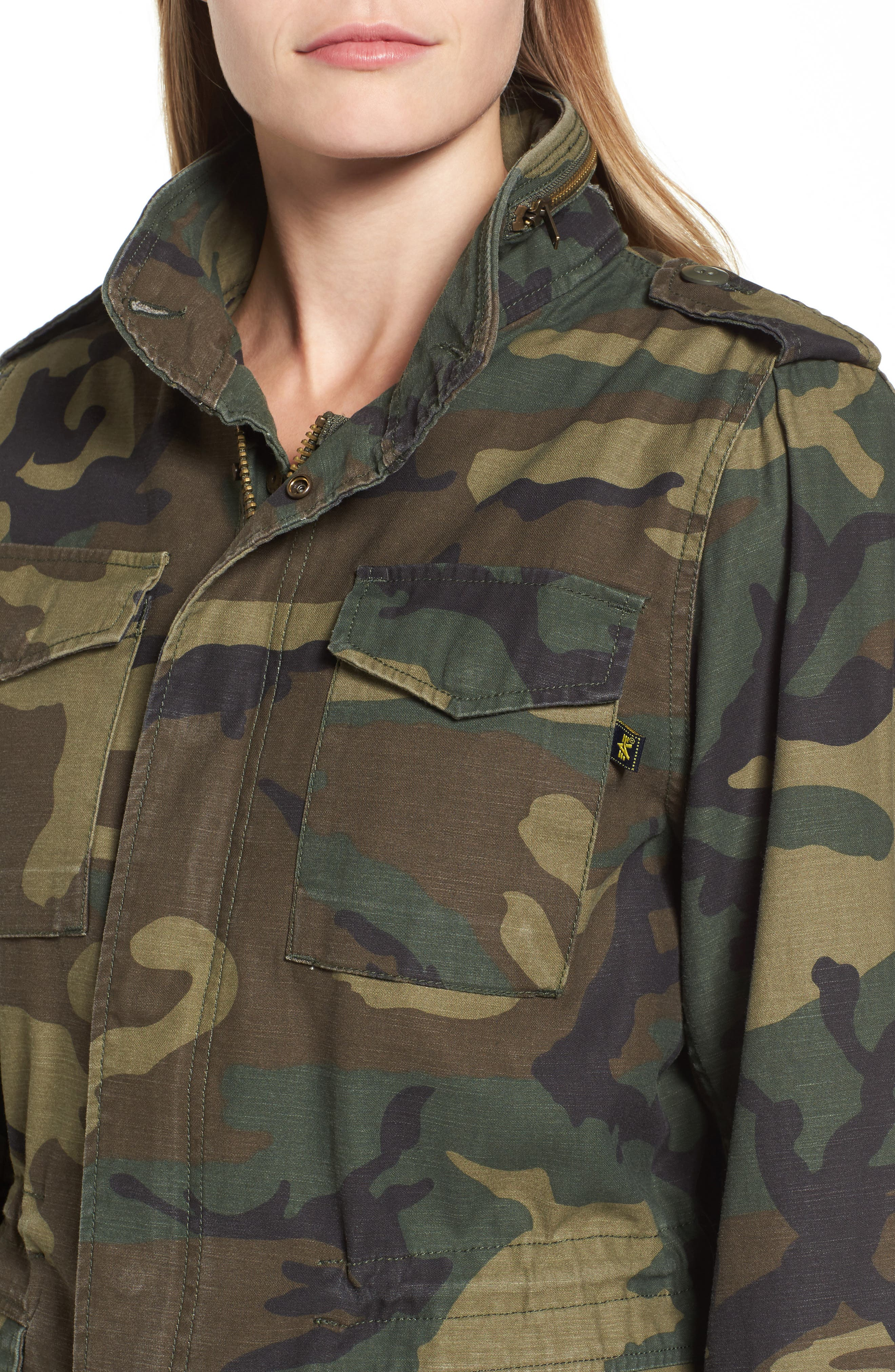 M-65 Defender Camo Field Jacket,                             Alternate thumbnail 4, color,                             Woodland Camo