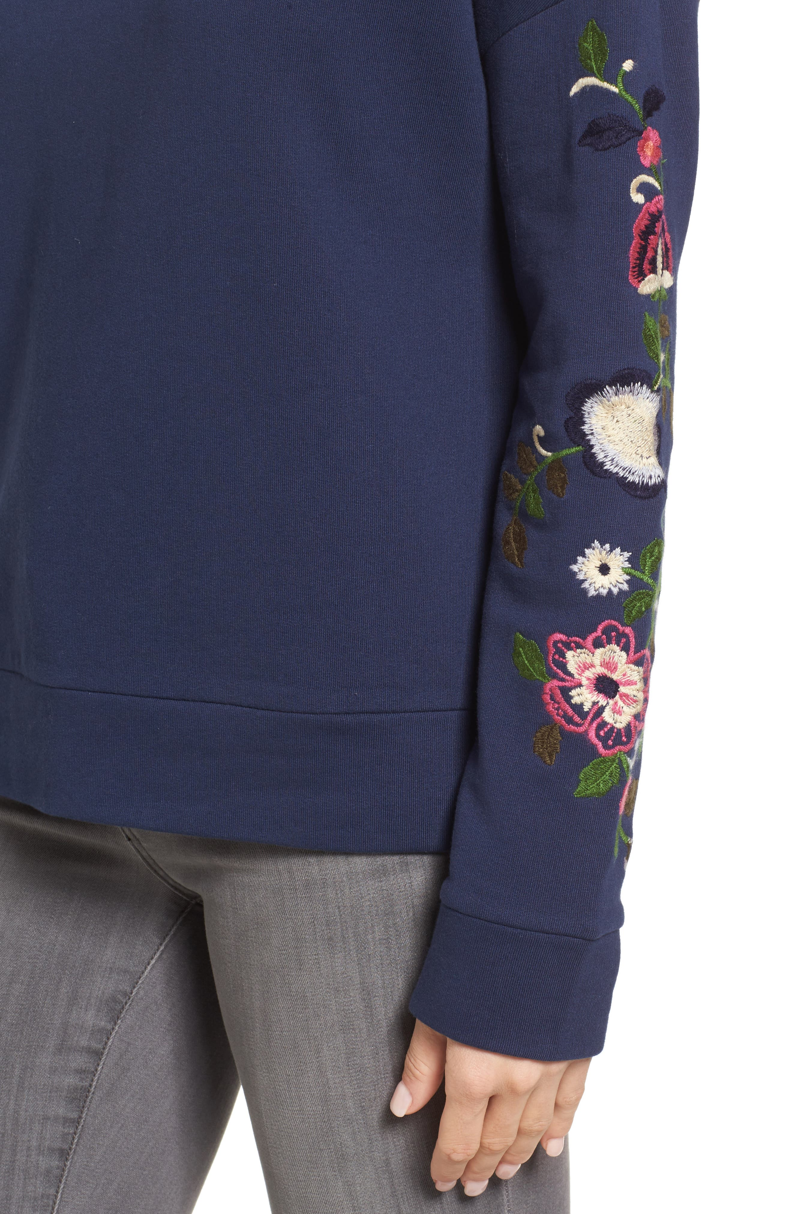 Embroidered Sleeve Sweatshirt,                             Alternate thumbnail 4, color,                             Navy- Rose Floral