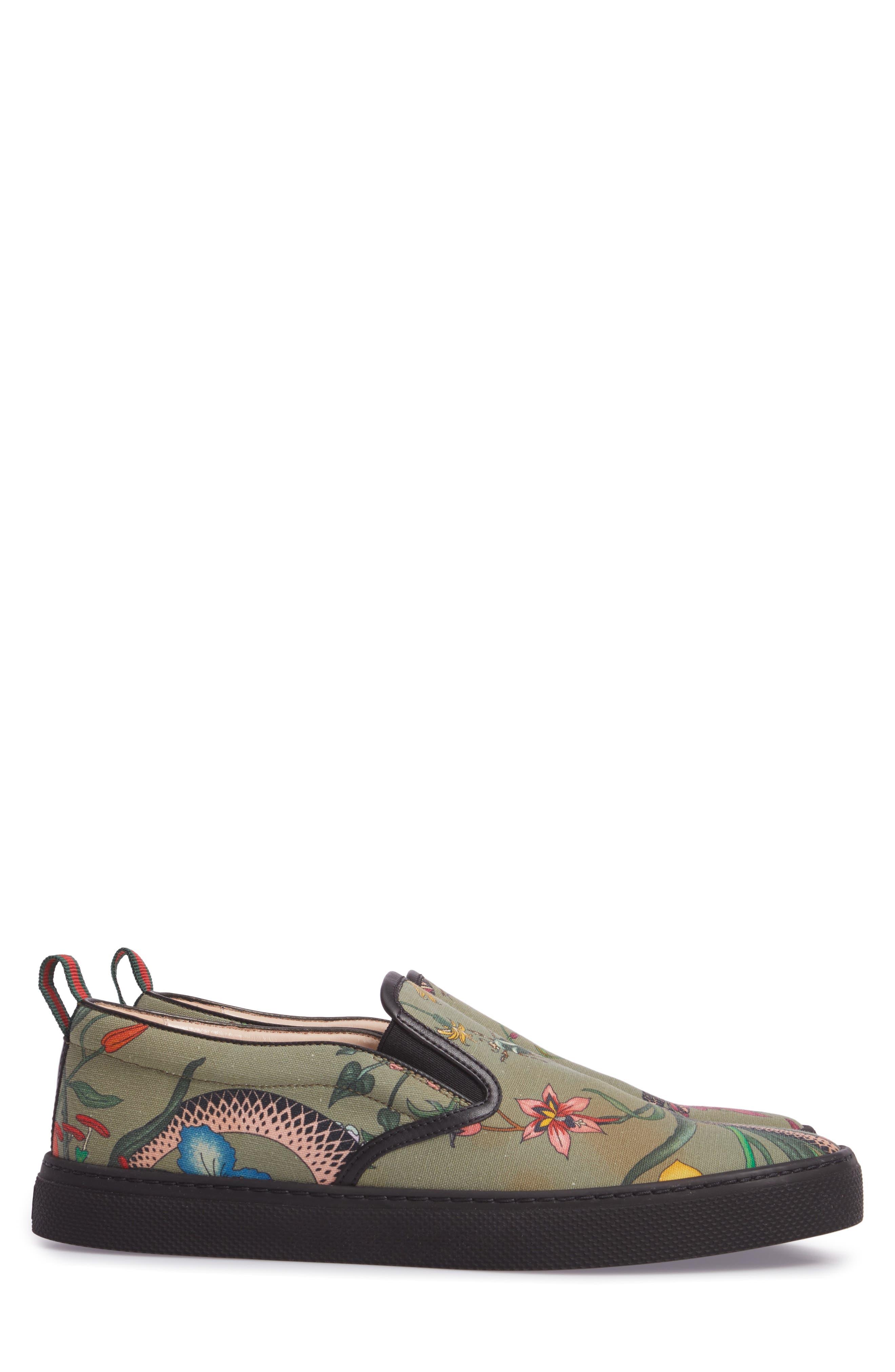 Flora Snake Slip-On Sneaker,                             Alternate thumbnail 4, color,                             Green