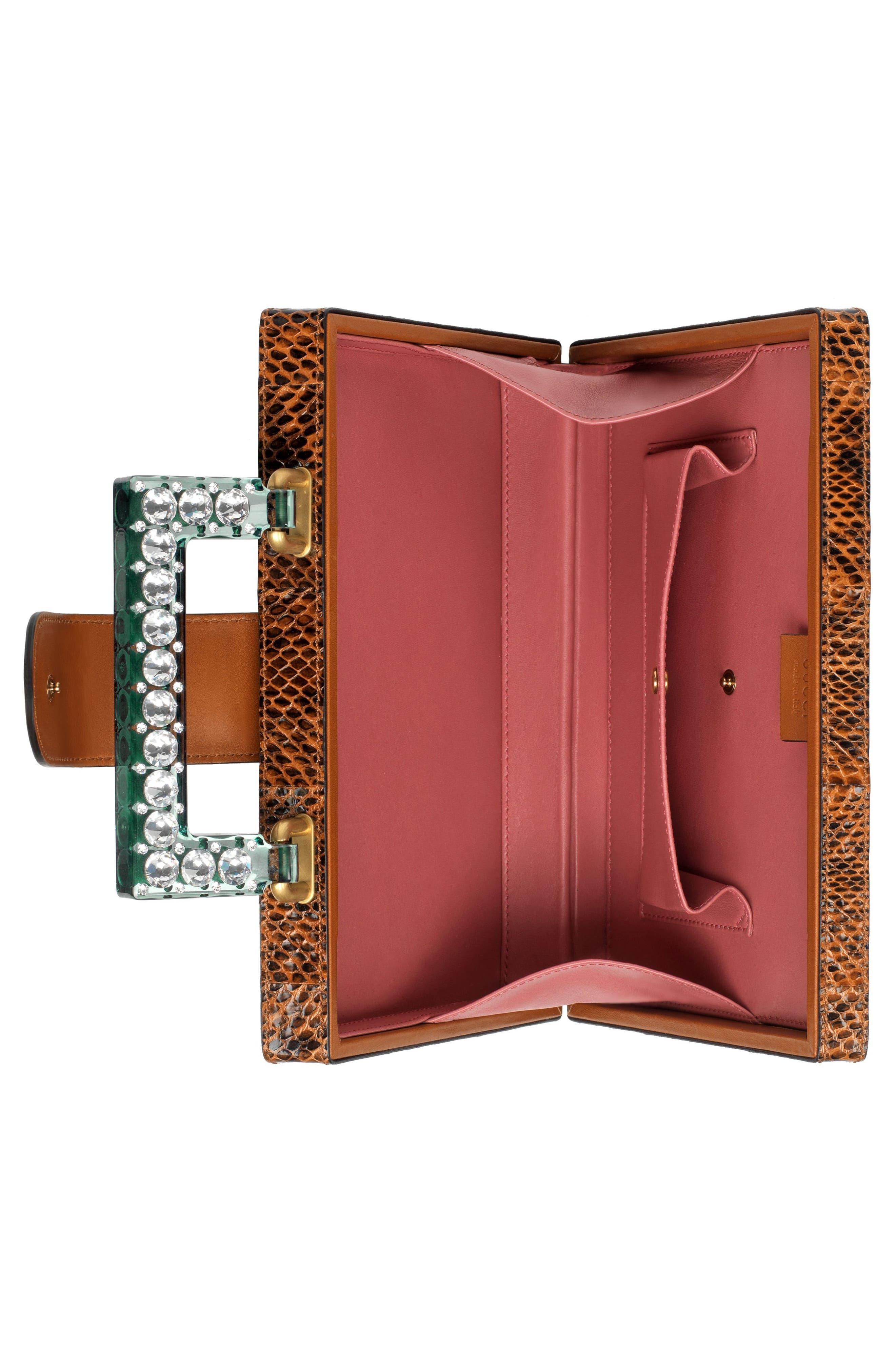 Broadway Genuine Snakeskin Box Clutch,                             Alternate thumbnail 3, color,                             Bright Cuir/ Verde Crystal