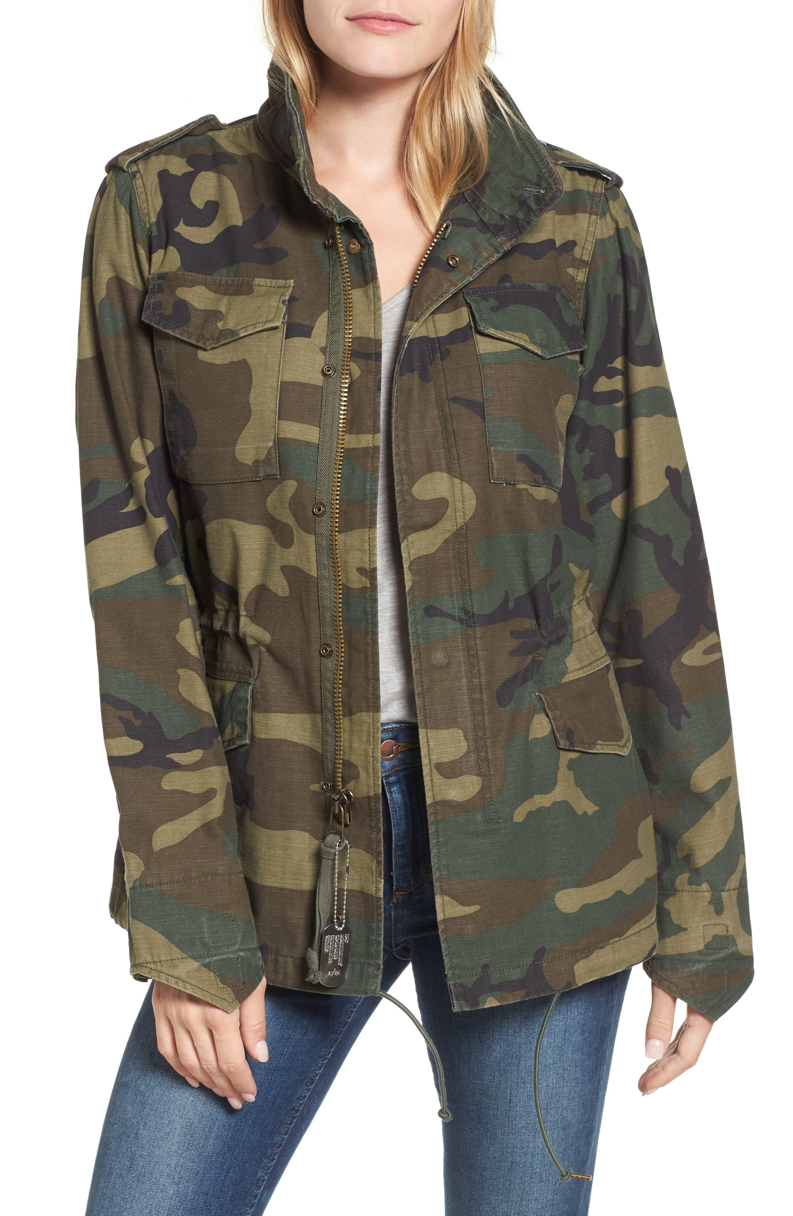 M-65 Defender Camo Field Jacket,                         Main,                         color, Woodland Camo