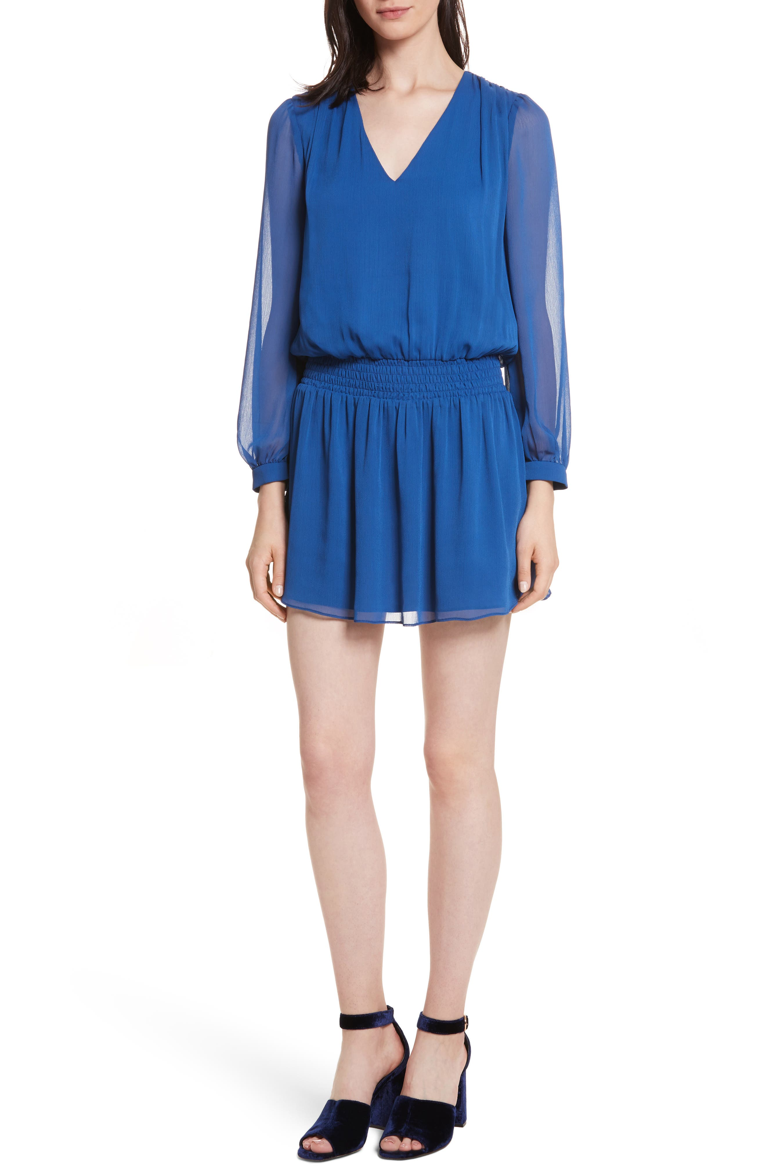 Adaline Smocked Waist Minidress,                         Main,                         color, Blue Quartz