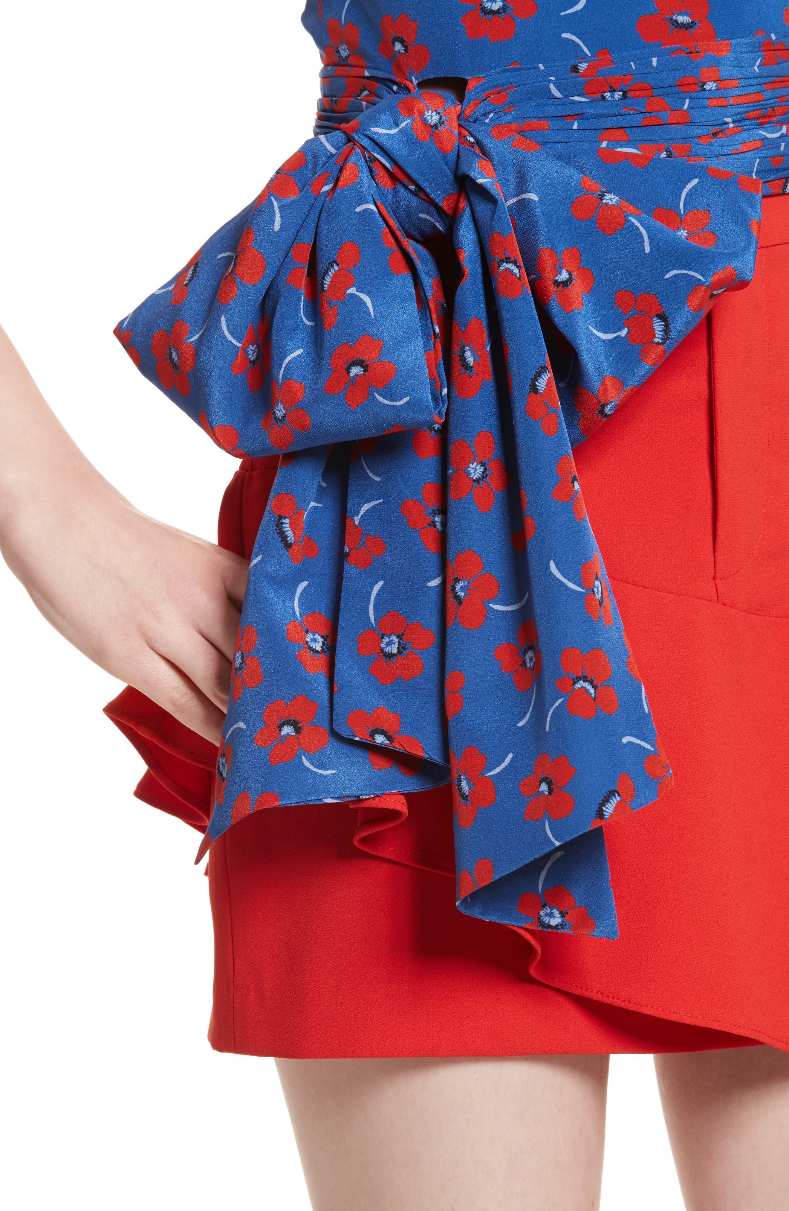Diedra Tie Waist Silk Crop Top,                             Alternate thumbnail 4, color,                             Floating Floral/ Blue Quartz