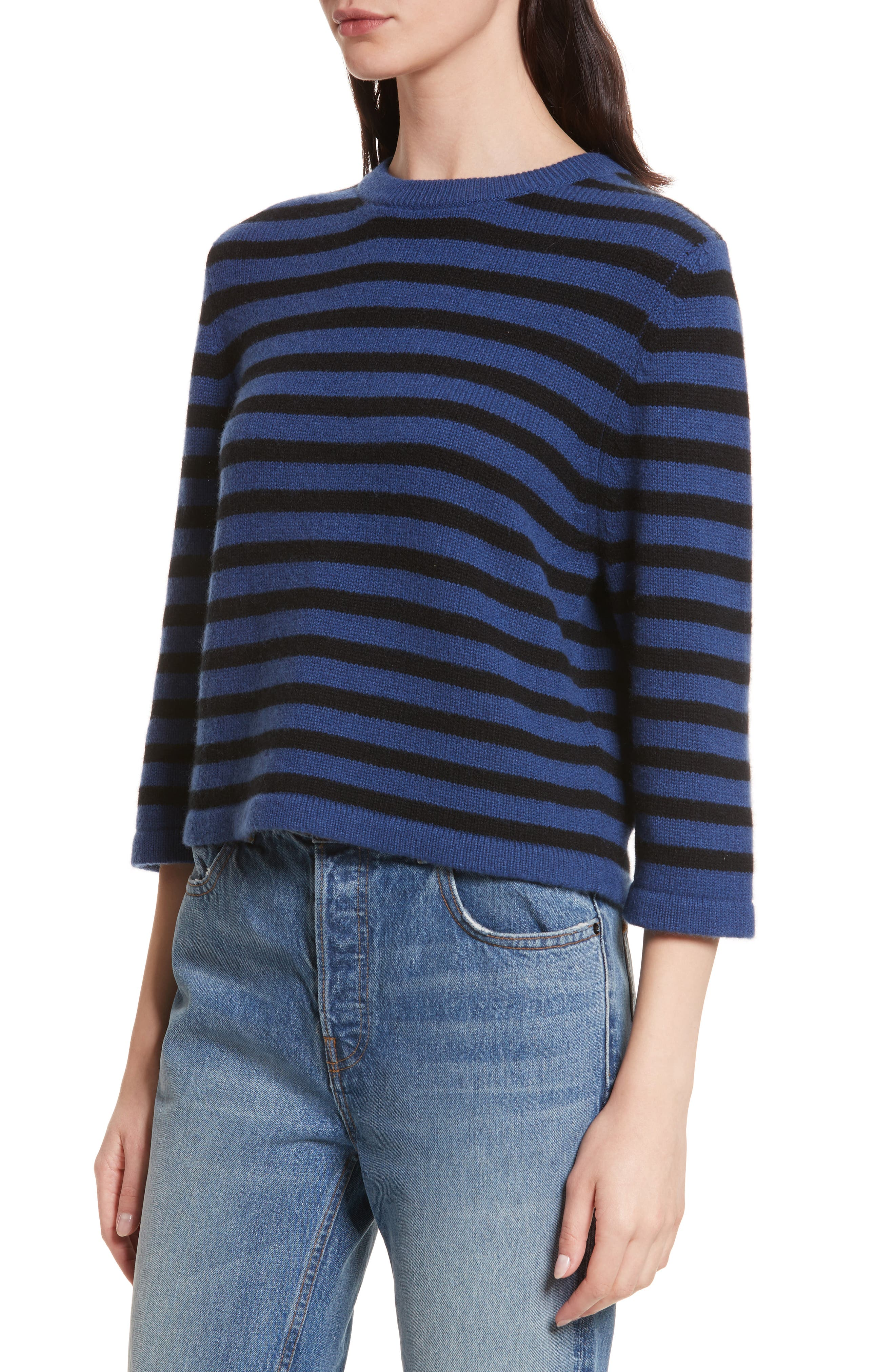 Crop Cashmere Sweater,                             Alternate thumbnail 3, color,                             Blue W/ Black Stripe