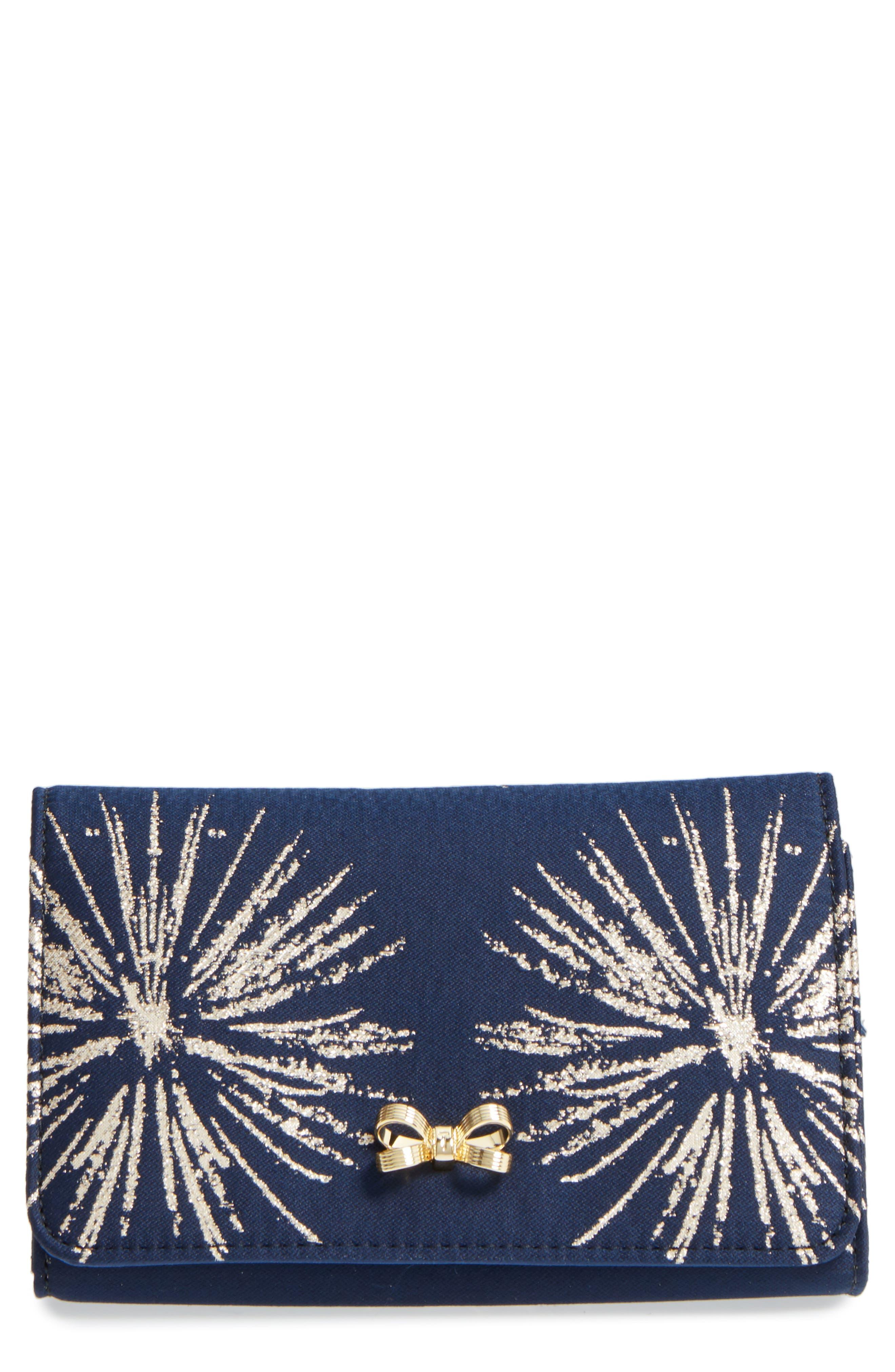 Starla Stardust Bow Clutch,                             Main thumbnail 1, color,                             Dark Blue