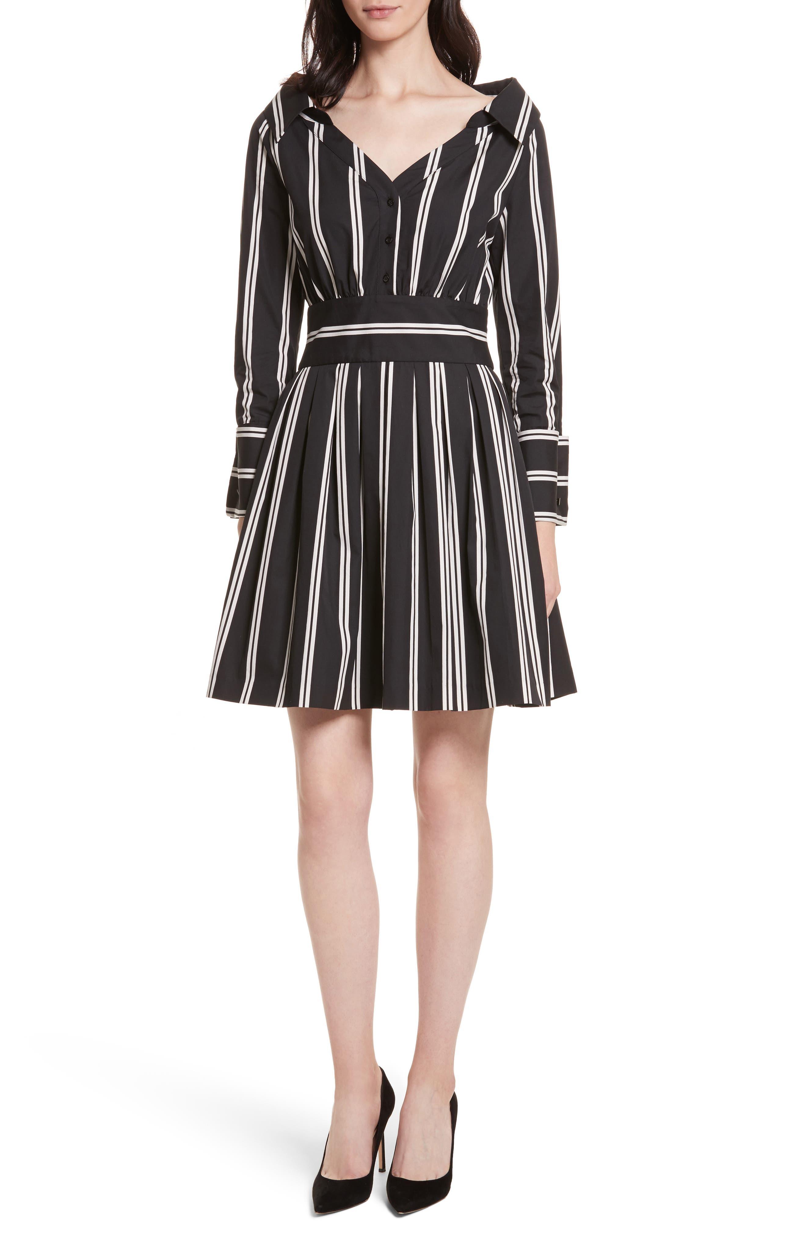 Iliana Stripe Fit & Flare Dress,                             Main thumbnail 1, color,                             Mod Pinstripe