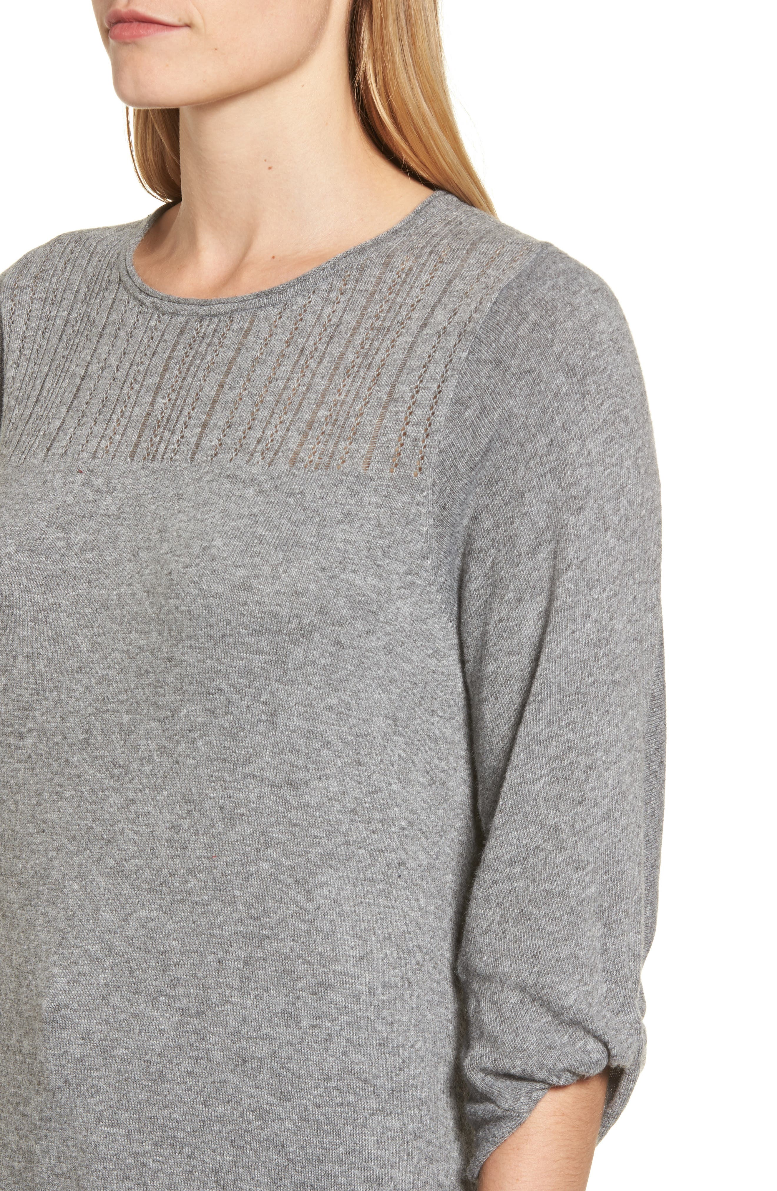 Pointelle Yoke Sweater,                             Alternate thumbnail 4, color,                             Heather Grey