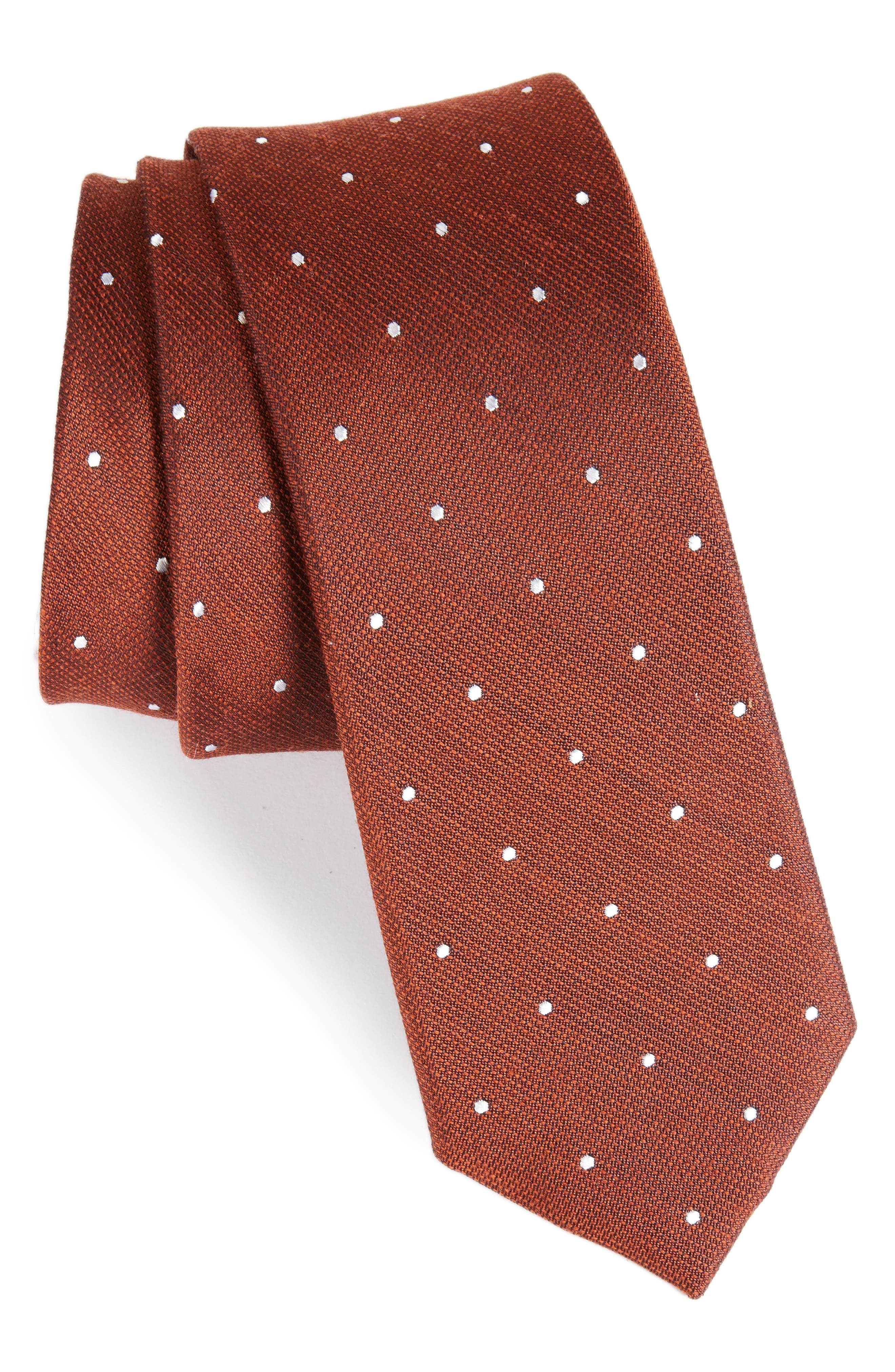 Dotted Report Silk & Wool Tie,                         Main,                         color, Burnt Orange