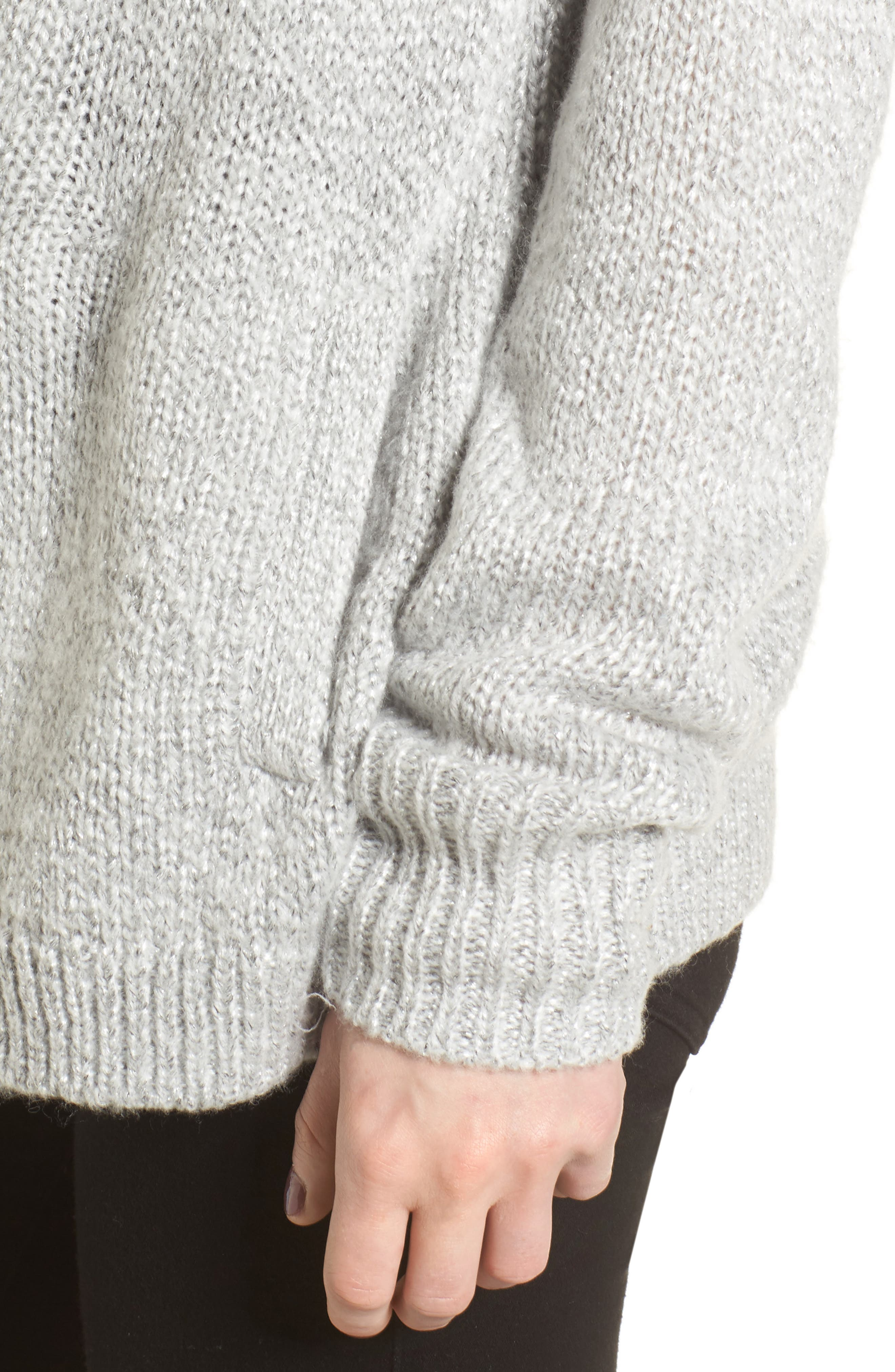 Shine Cardigan Sweater,                             Alternate thumbnail 4, color,                             Grey Light Heather Combo
