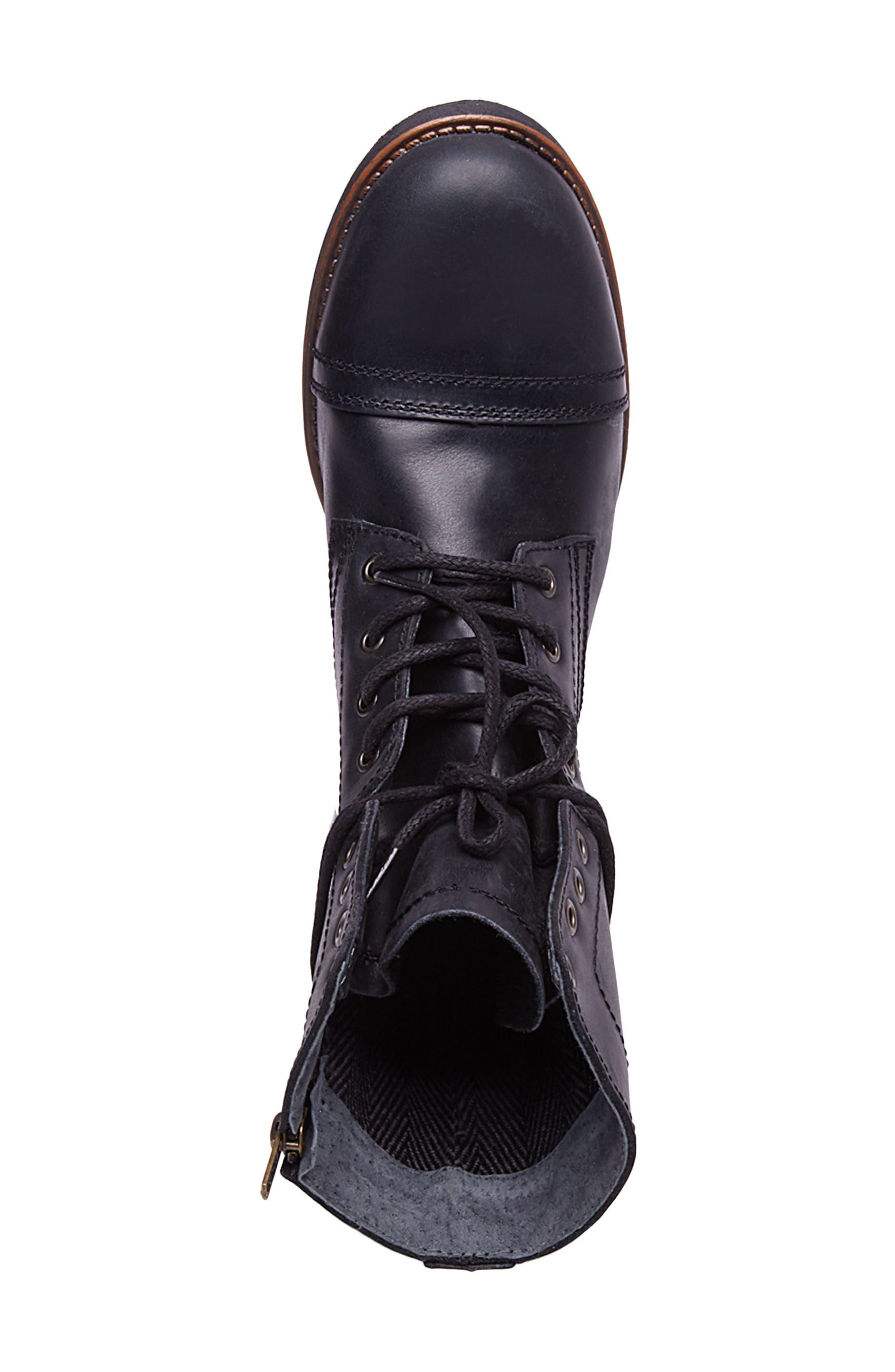Troopah-C Cap Toe Boot,                             Alternate thumbnail 5, color,                             Black Leather
