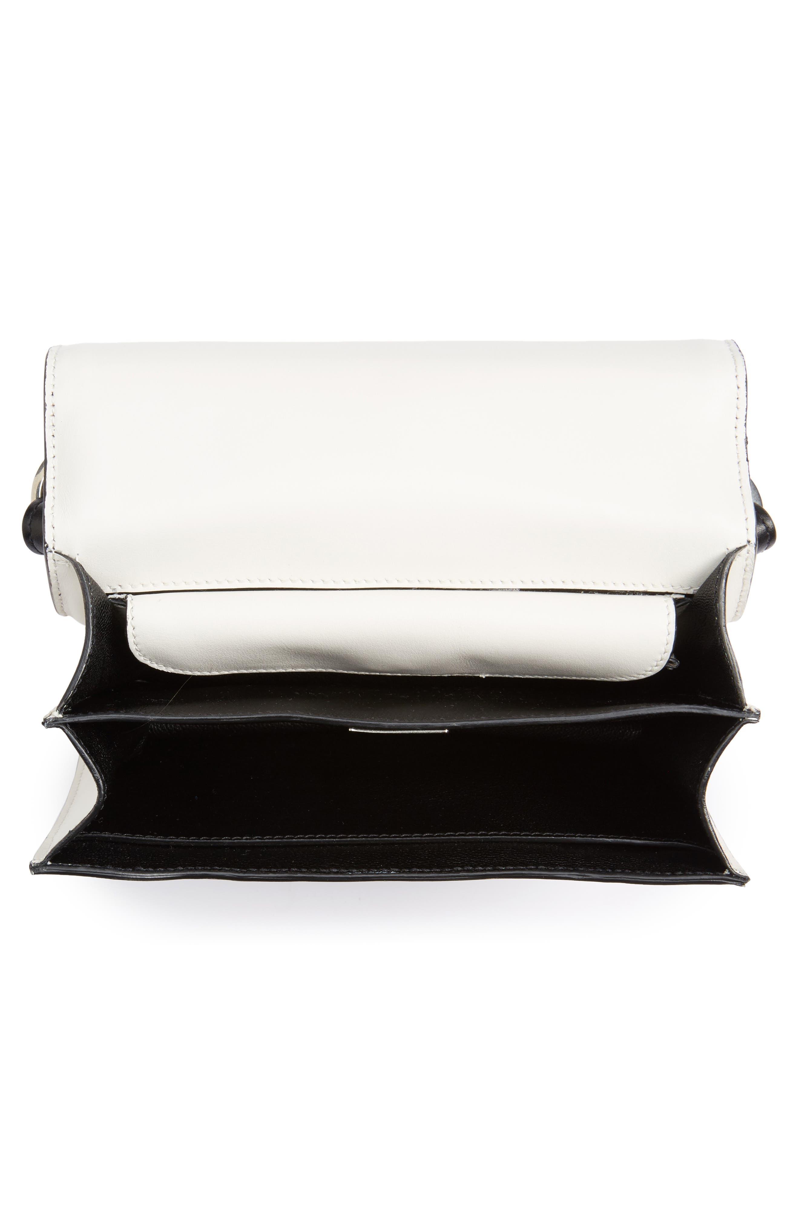 Cahier City Calfskin Shoulder Bag,                             Alternate thumbnail 4, color,                             Bianco/ Nero