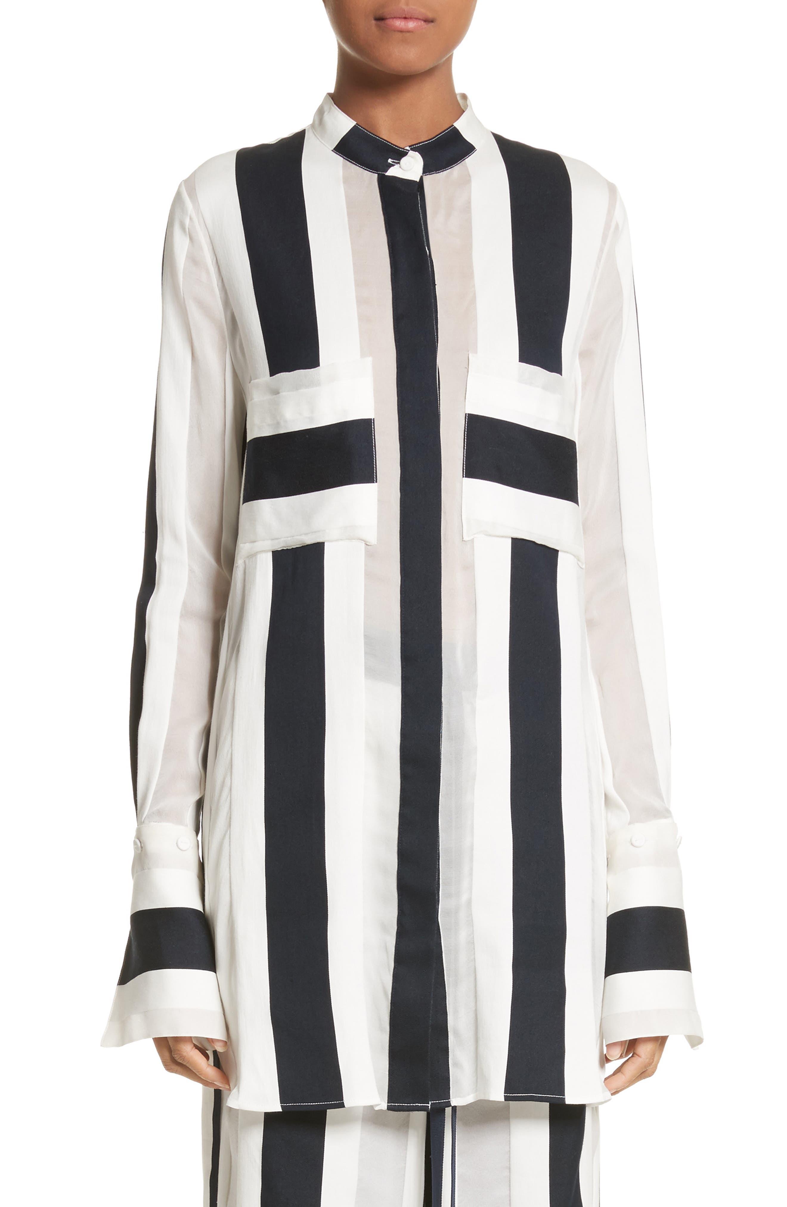 Cotton & Silk Stripe Jacquard Blouse,                             Main thumbnail 1, color,                             Black/ White