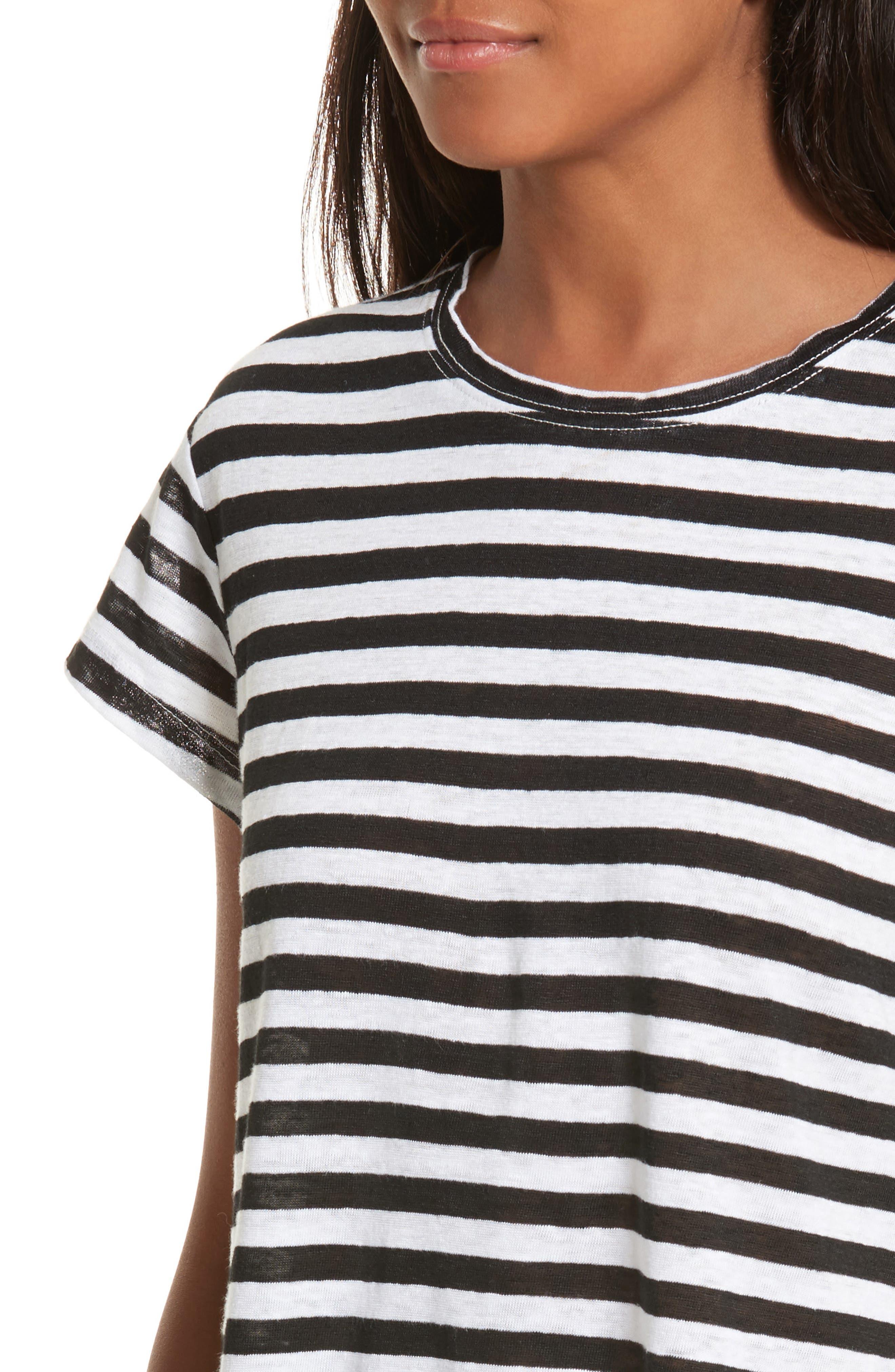 Stripe Crew Tee,                             Alternate thumbnail 6, color,                             Noir Multi Wide Stripe