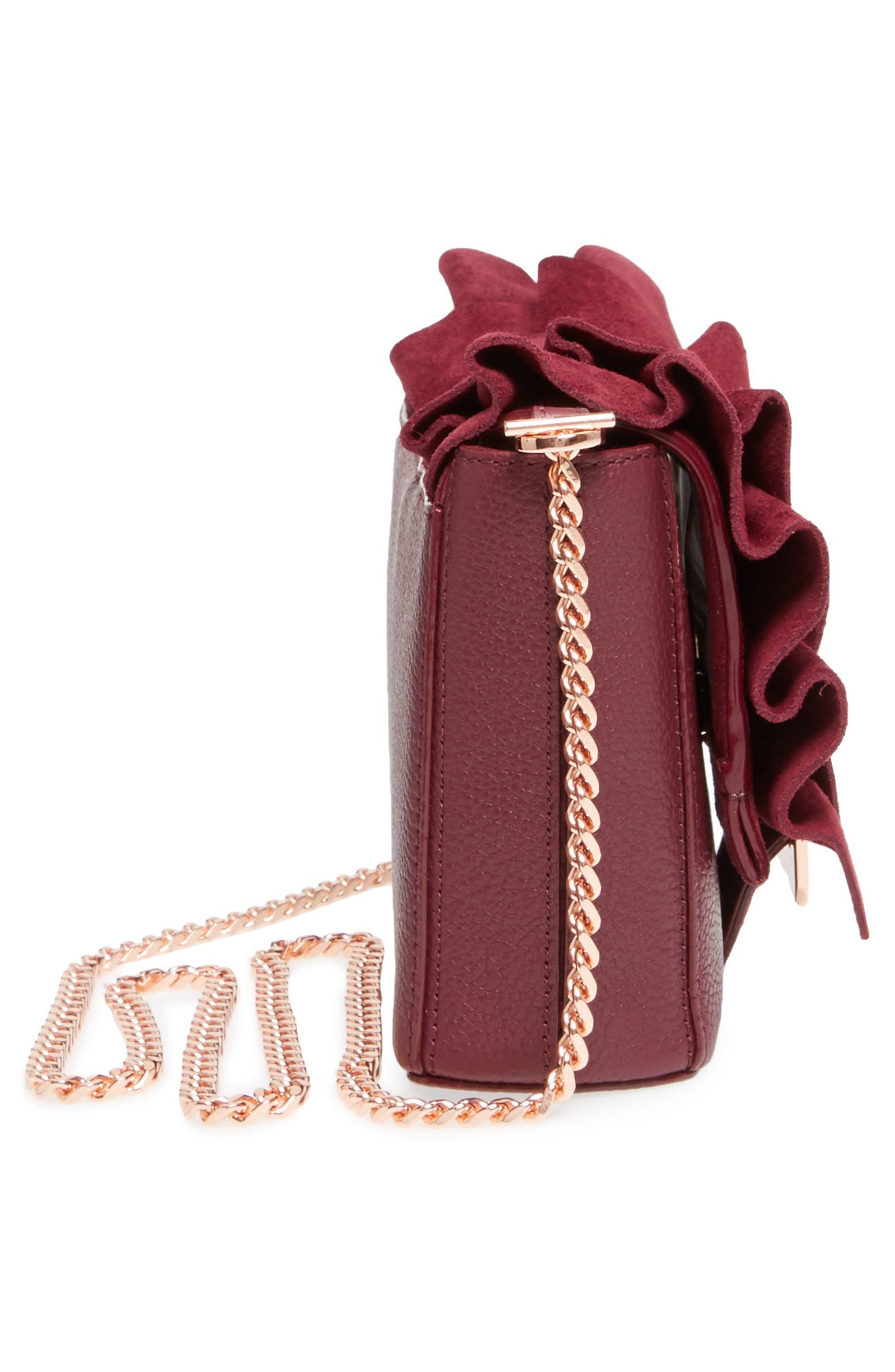 Nerinee Bow Buckle Clutch,                             Alternate thumbnail 5, color,                             Oxblood