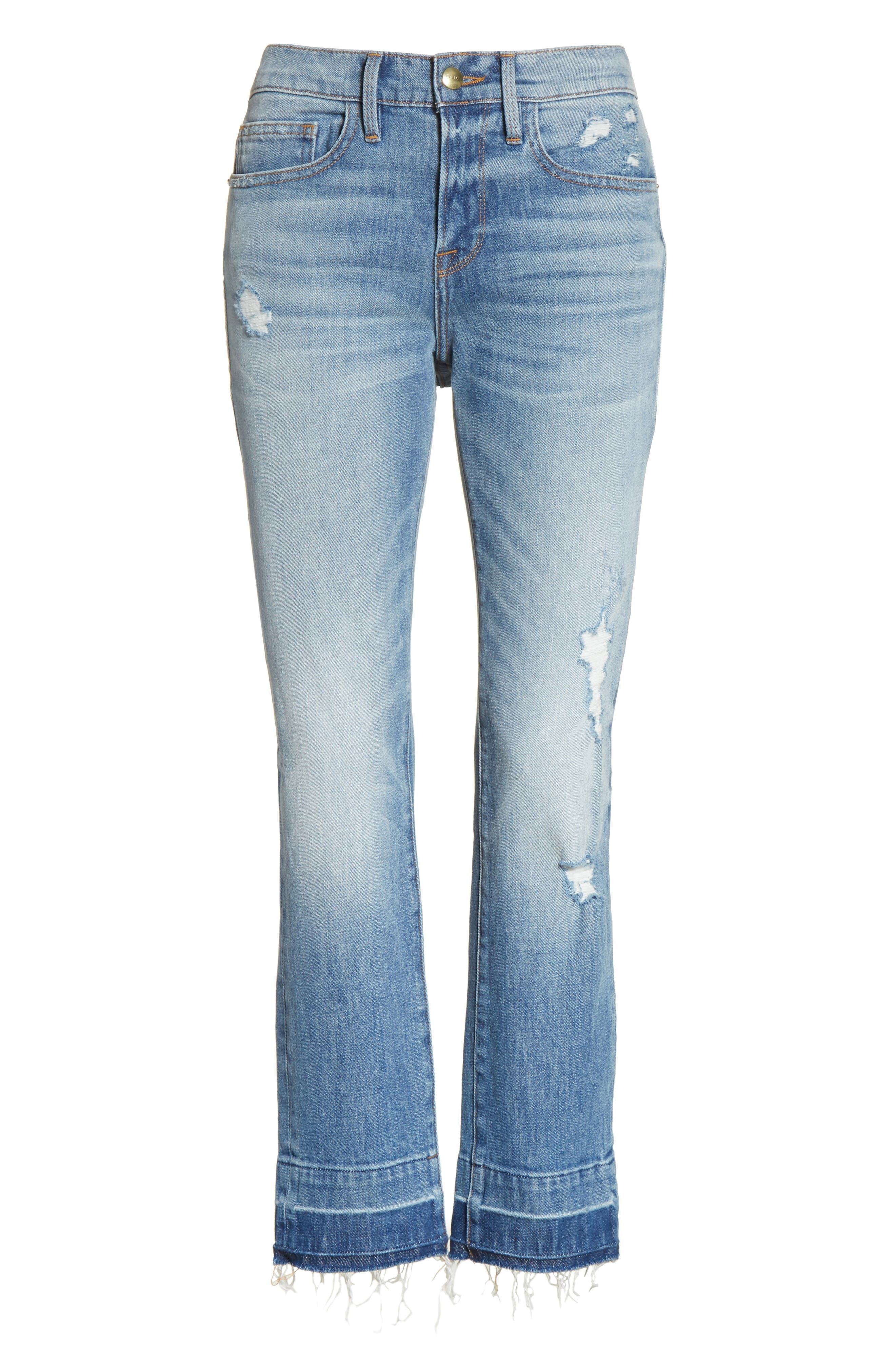 Alternate Image 8  - FRAME Le Boy Ripped High Waist Jeans (Klinedale)