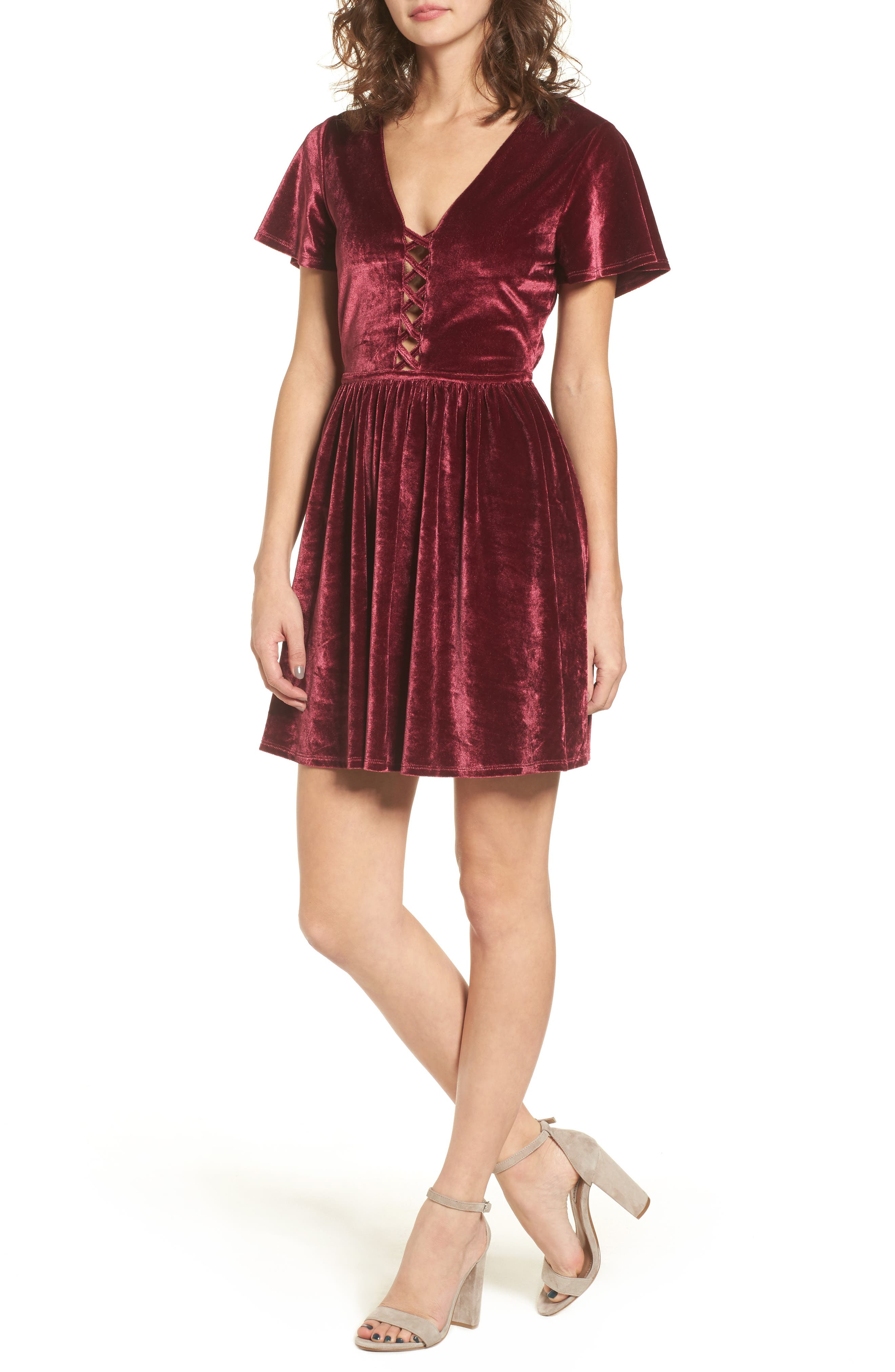 Velvacious Dress,                             Main thumbnail 1, color,                             Burgundy