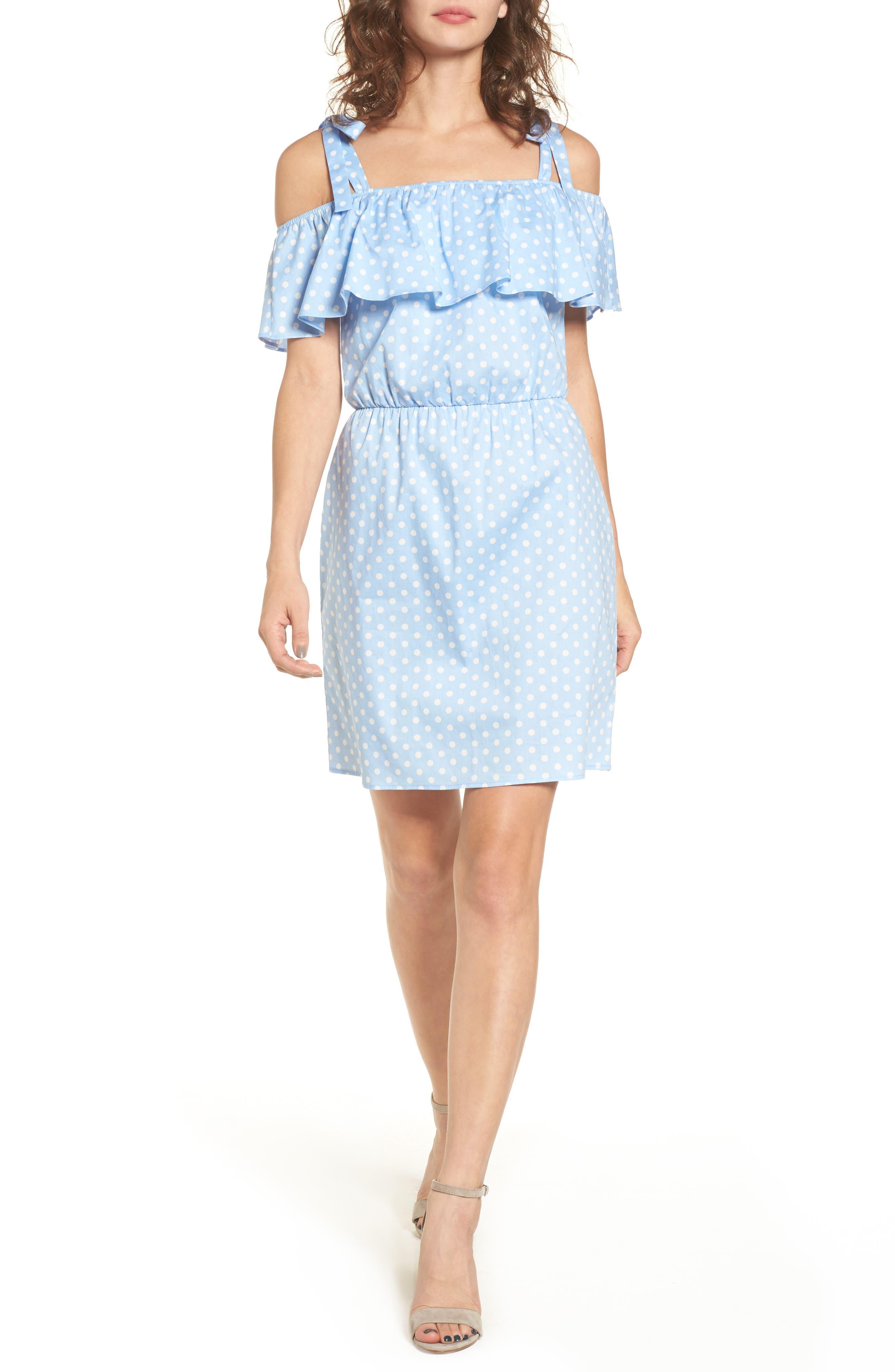 Ruffle Cold Shoulder Dress,                         Main,                         color, Light Blue Polk A Dot