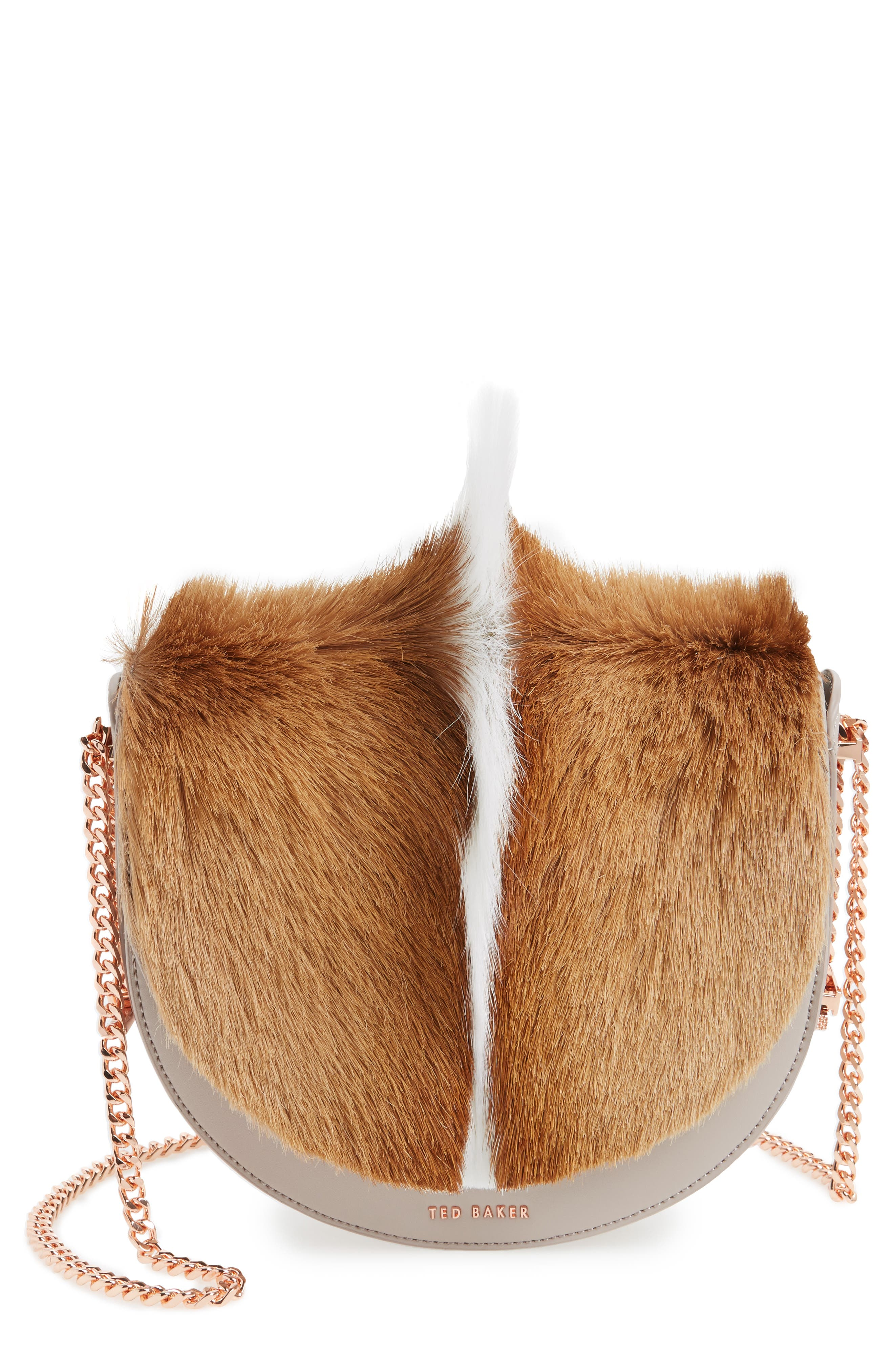 Ted Baker London Alisonn Leather & Genuine Springbok Fur Saddle Bag
