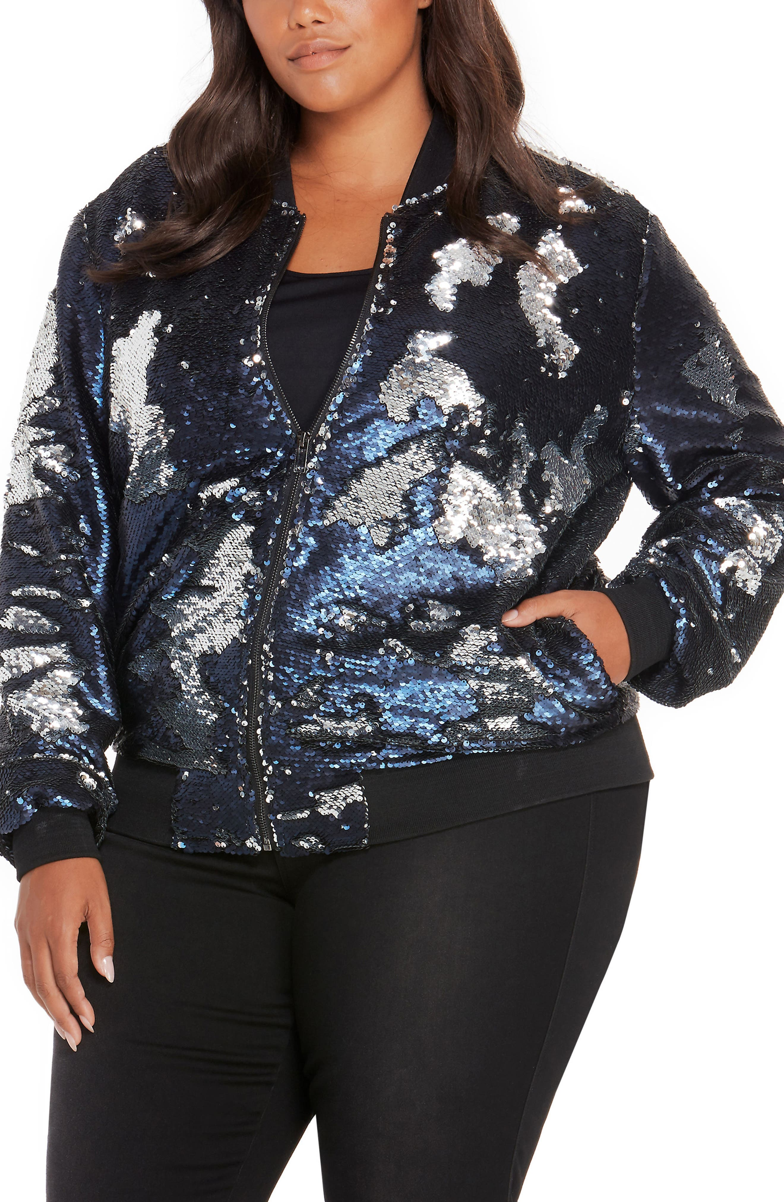 REBEL WILSON X ANGELS Sequin Bomber Jacket (Plus Size)