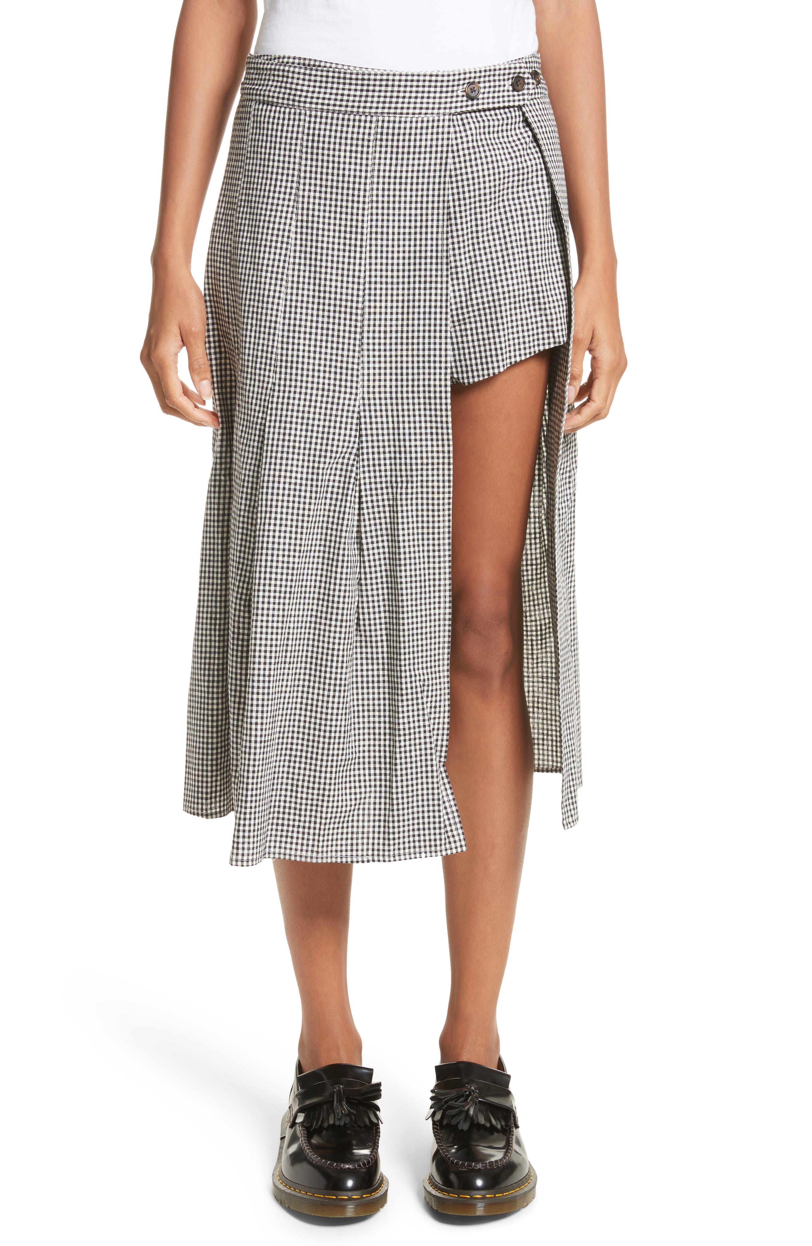 Sandy Liang Uniform Gingham Linen & Cotton Skirt