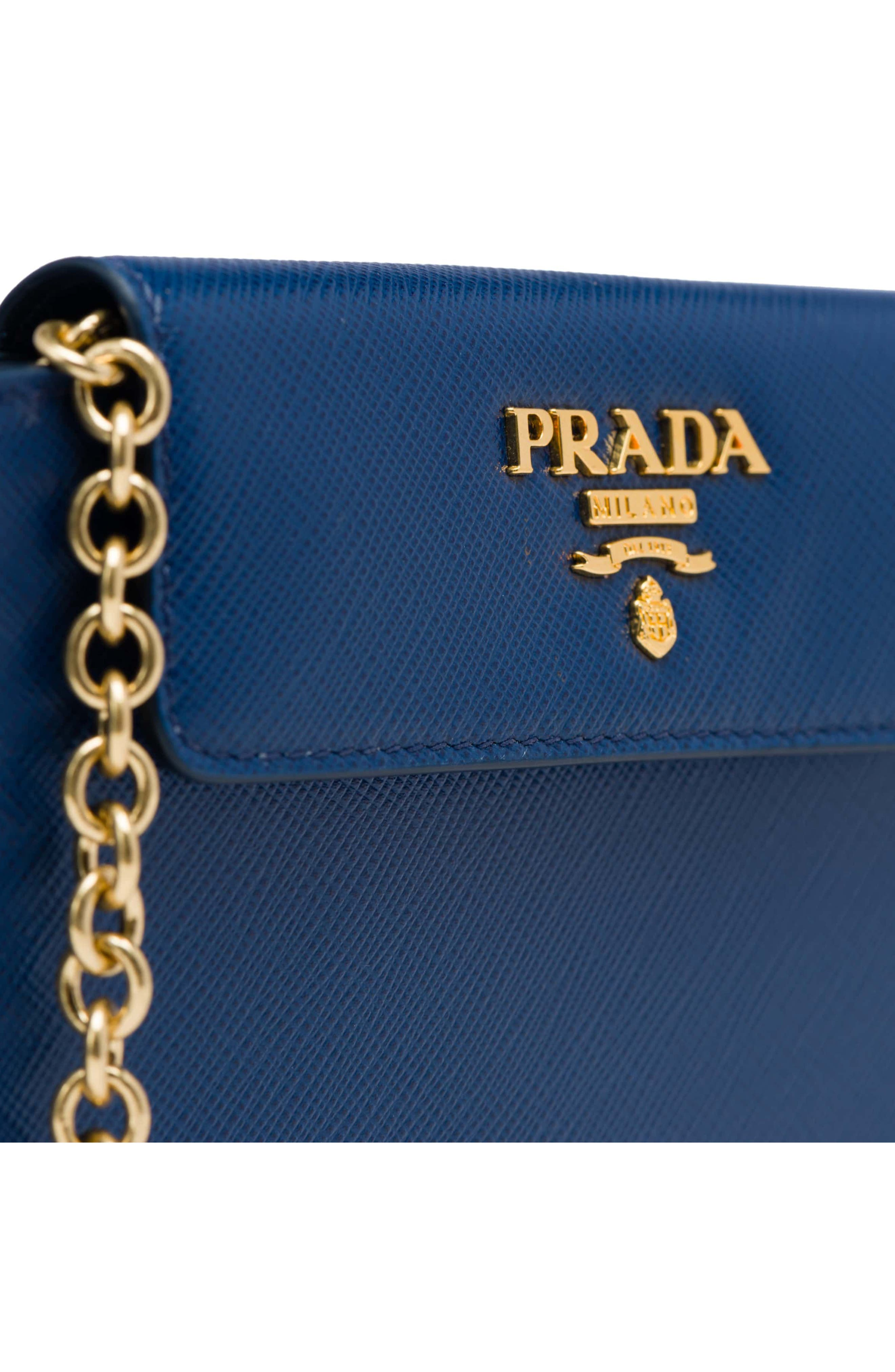 Saffiano Leather Metal Oral Phone Wallet on a Chain,                             Alternate thumbnail 5, color,                             Bluette