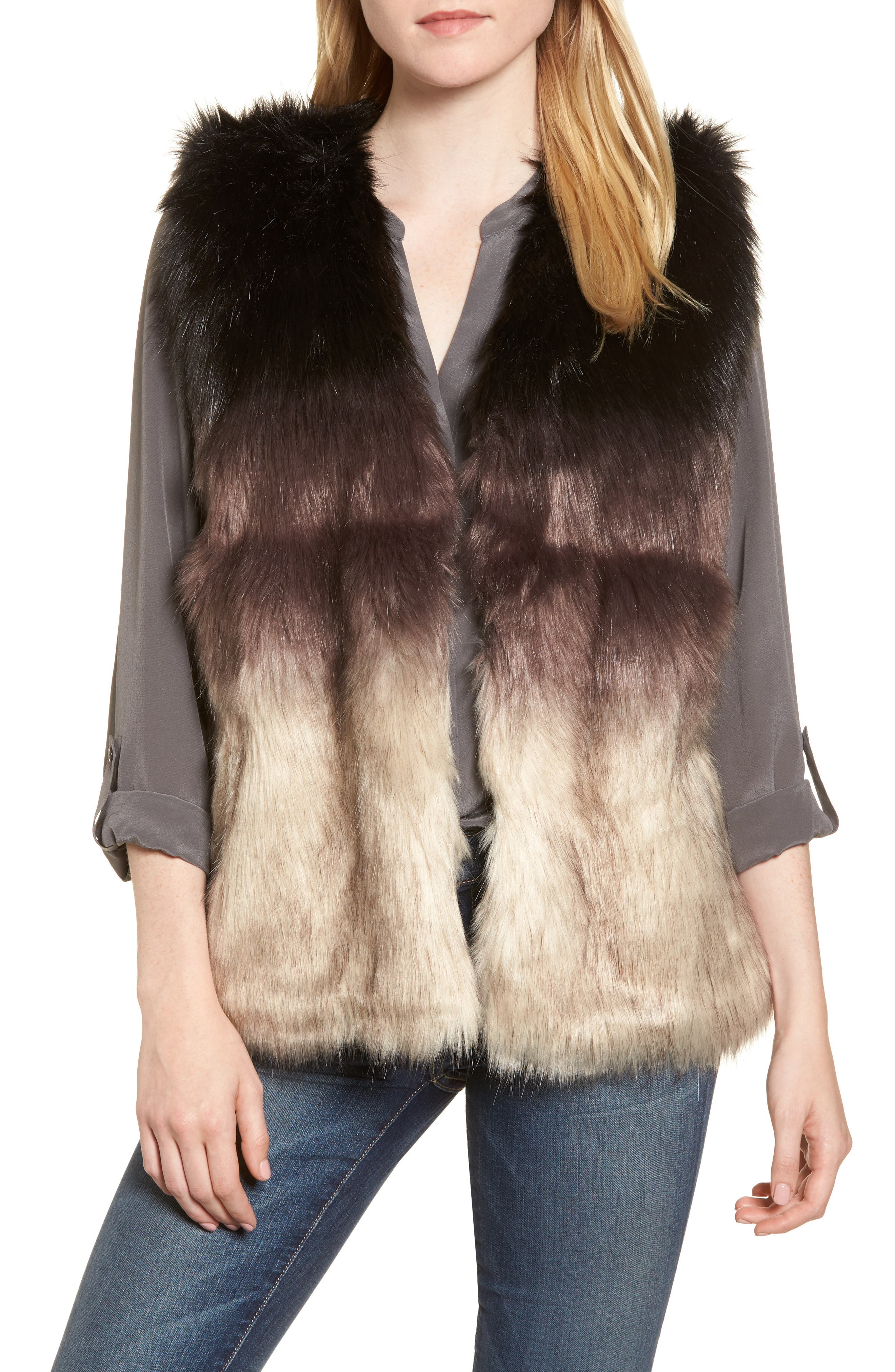 Alternate Image 1 Selected - Sole Society Ombré Faux Fur Vest