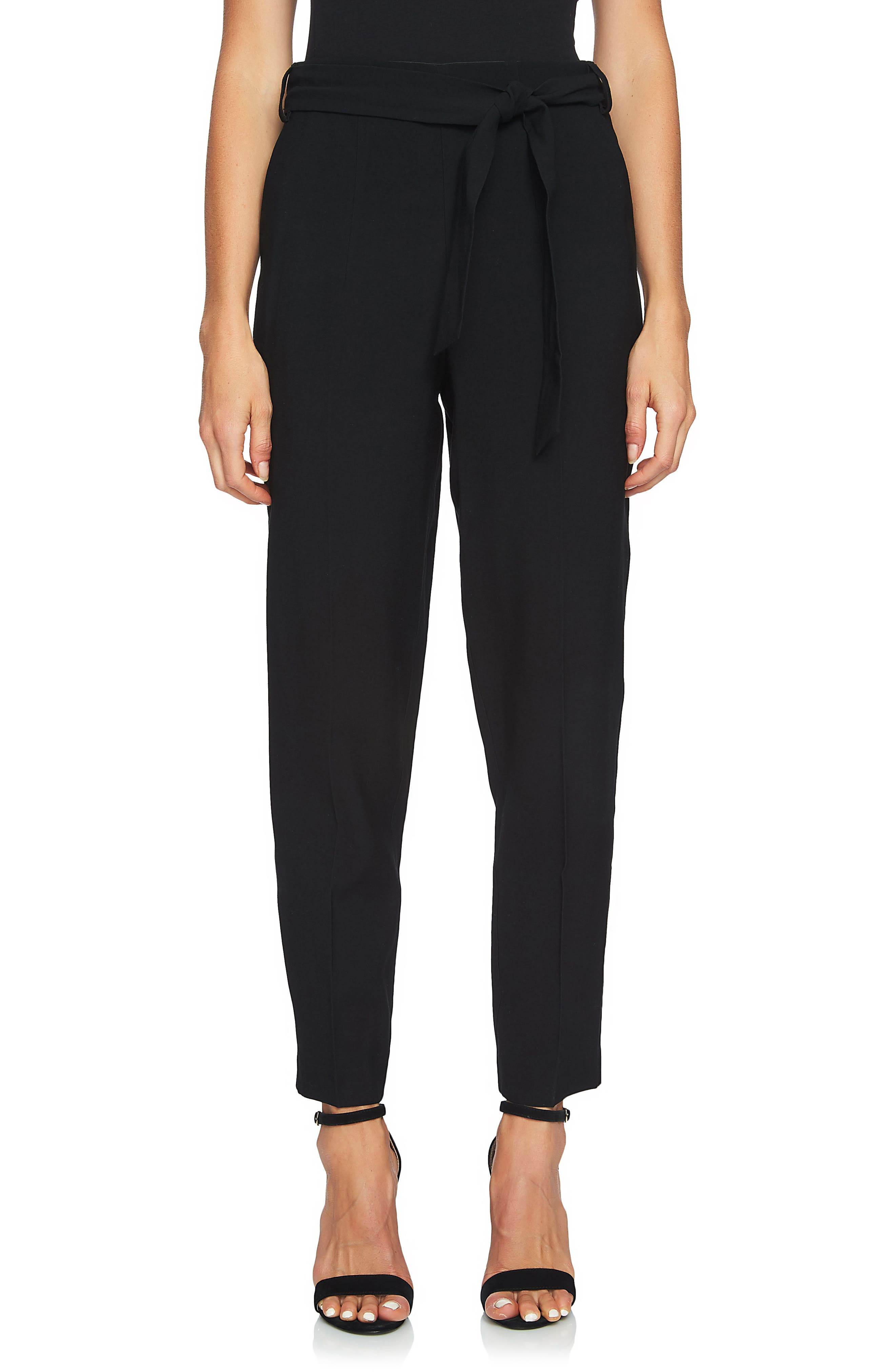 Tie Waist Tapered Trousers,                             Main thumbnail 1, color,                             Rich Black