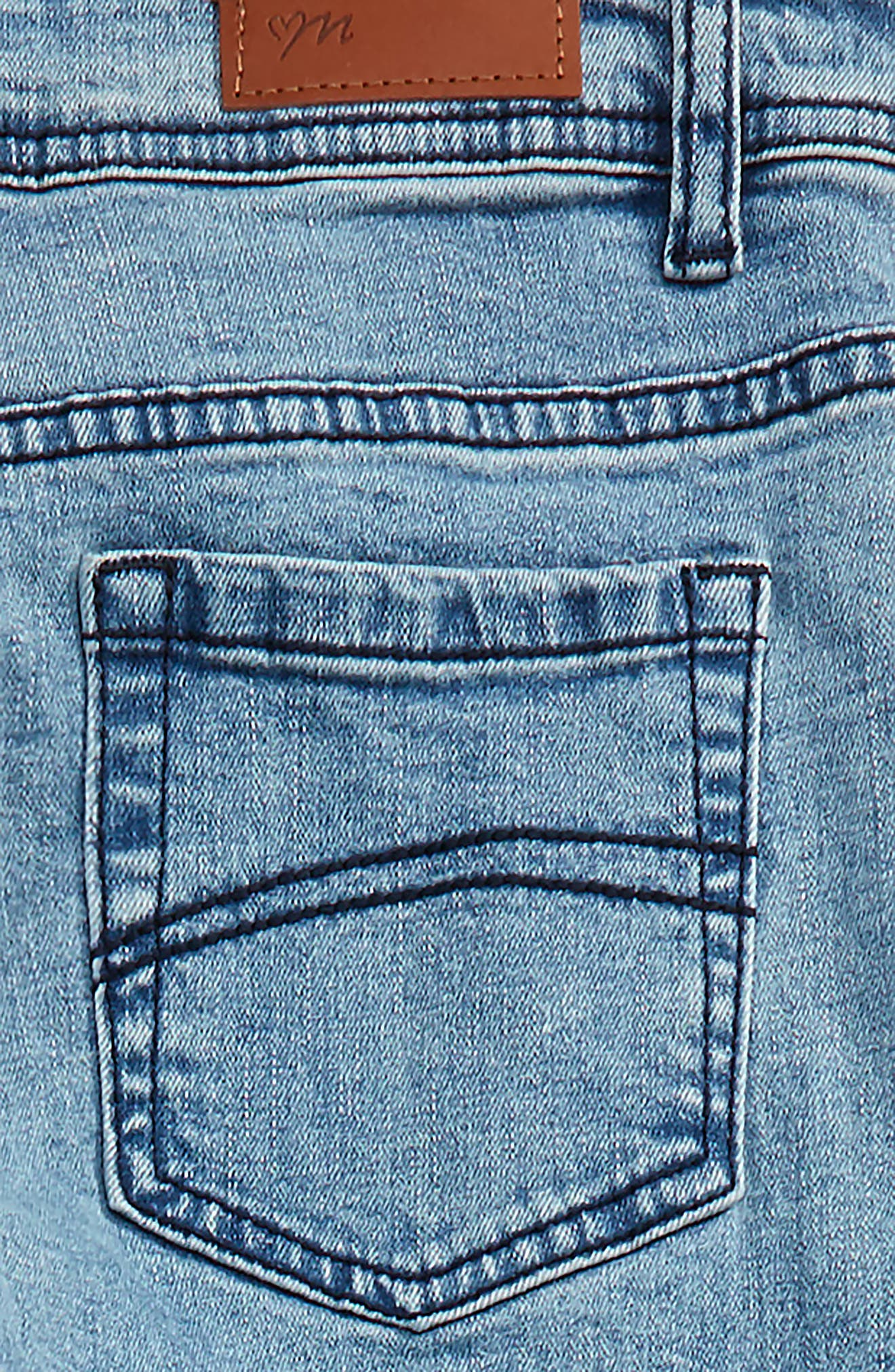 Distressed Skinny Jeans,                             Alternate thumbnail 3, color,                             Denim