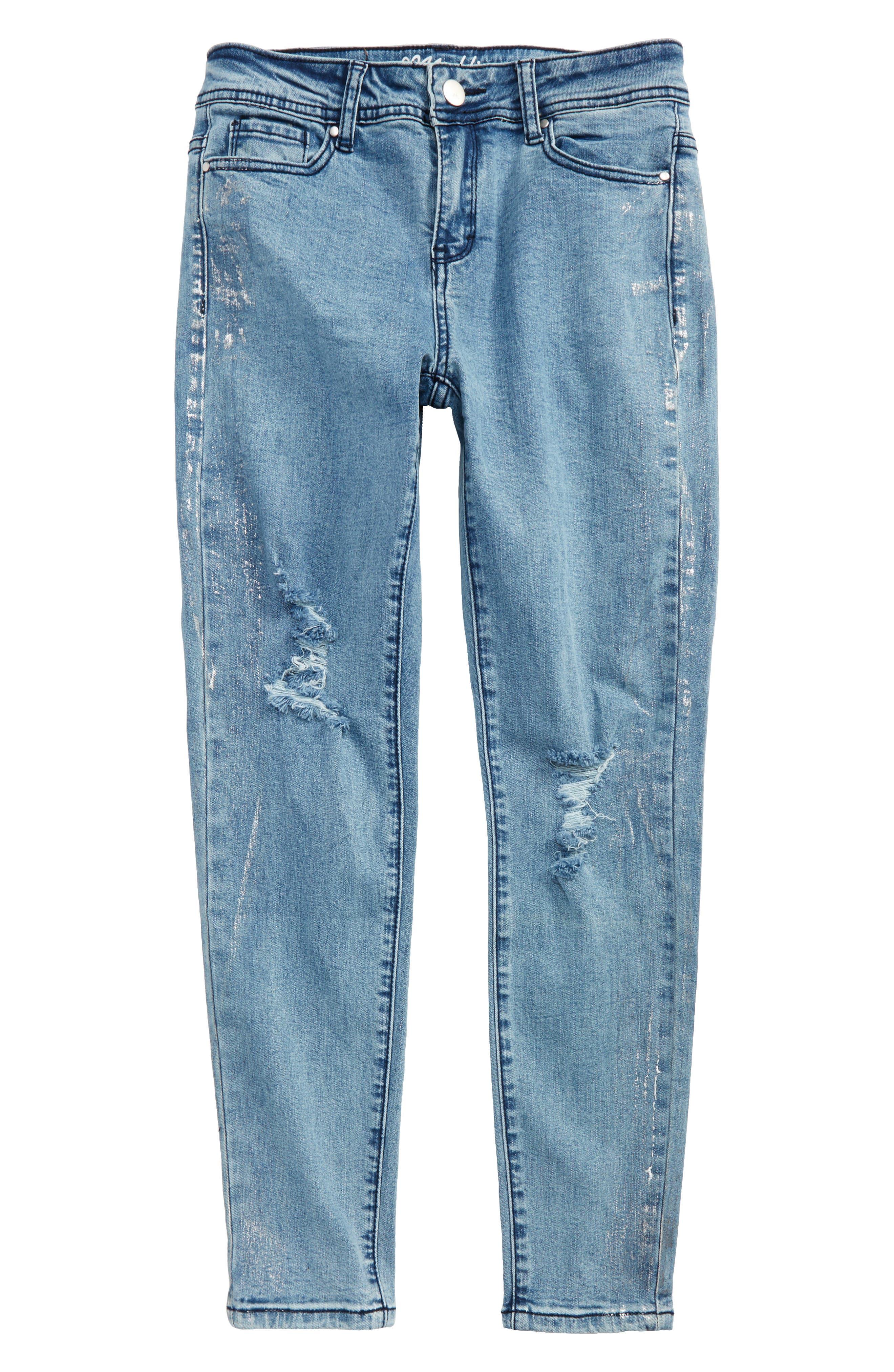 Distressed Skinny Jeans,                             Main thumbnail 1, color,                             Denim