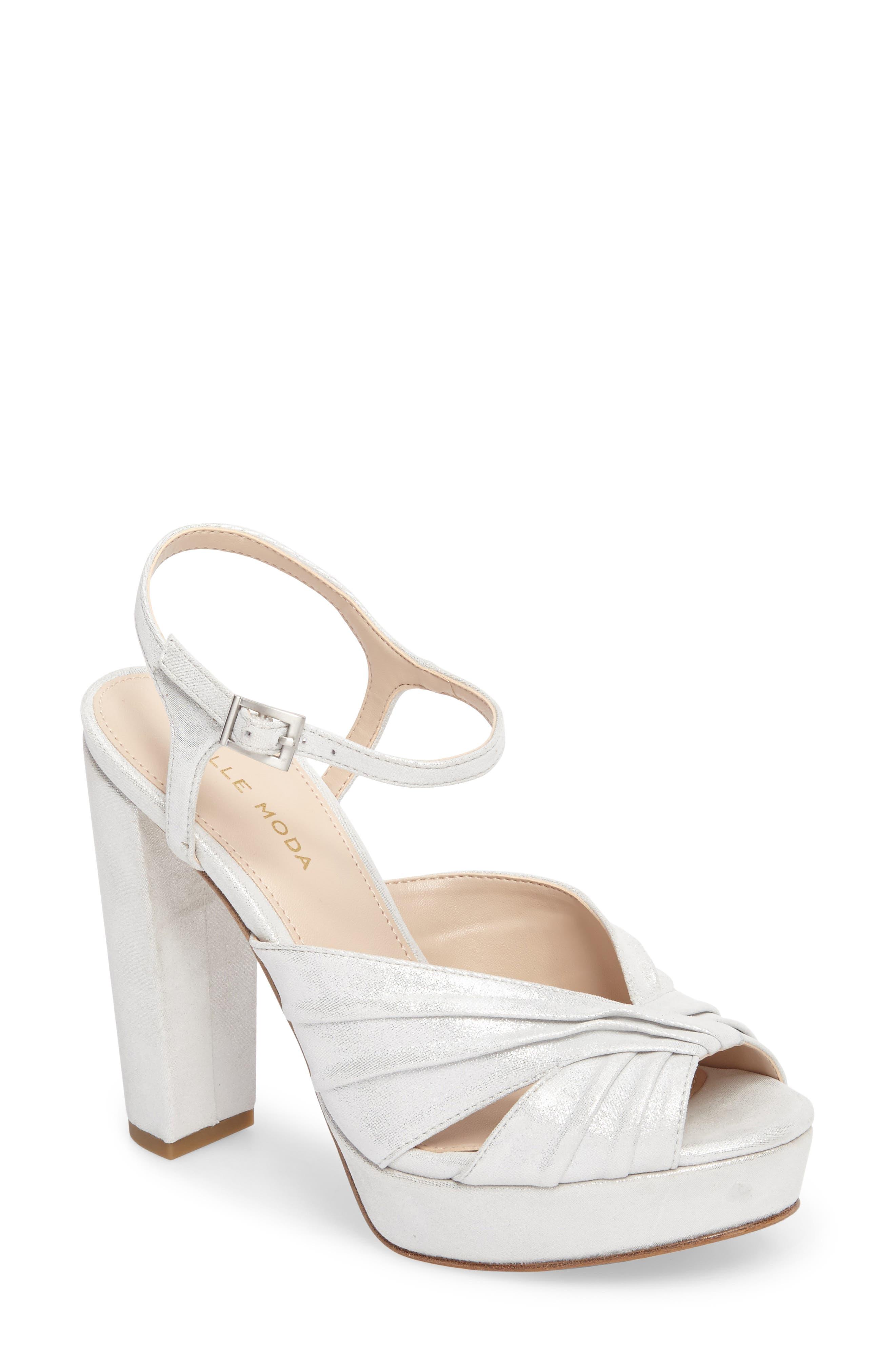 Palm Platform Sandal,                             Main thumbnail 1, color,                             Silver Leather