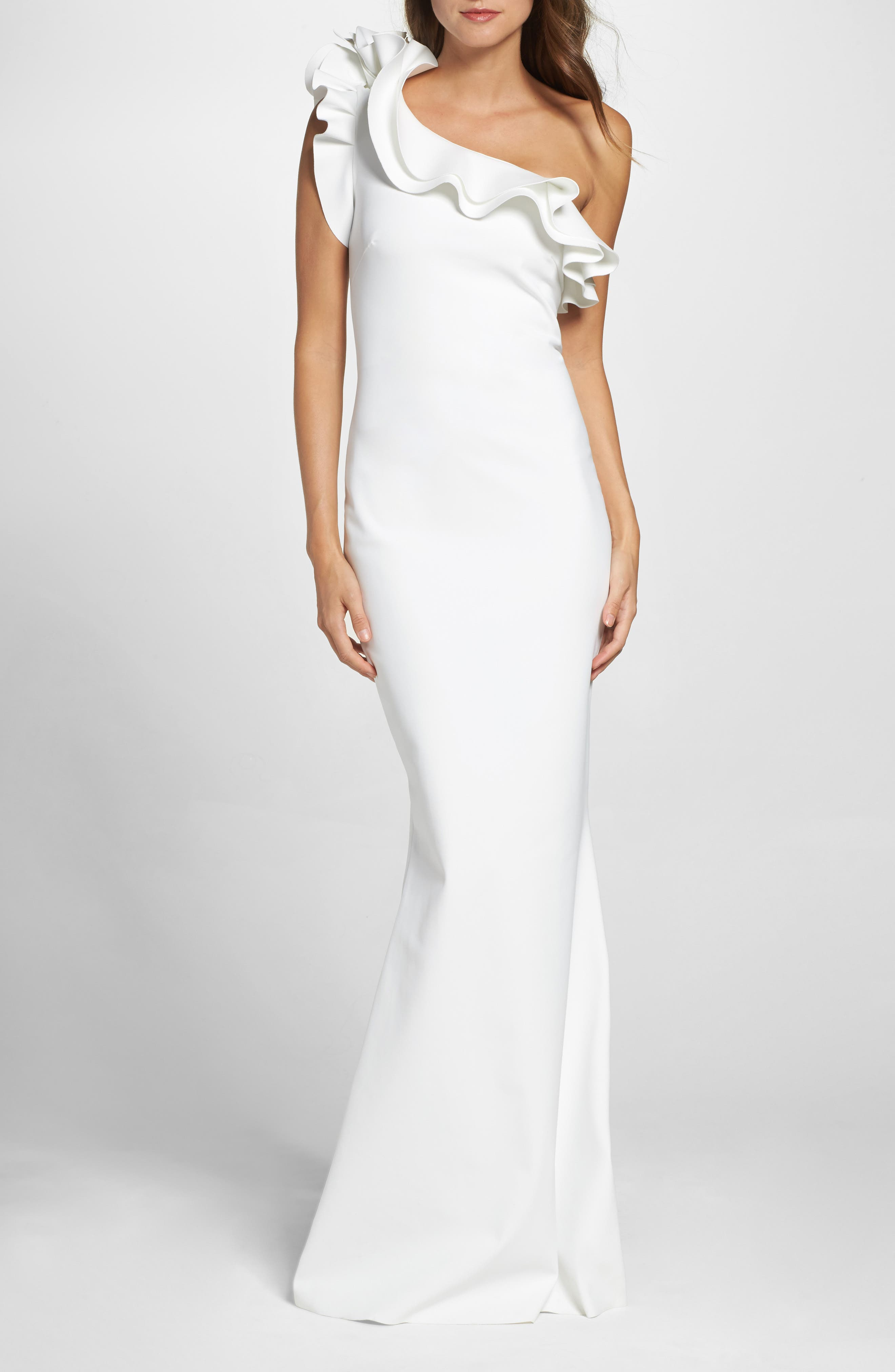 Elisir Ruffle One-Shoulder Gown,                             Main thumbnail 1, color,                             White
