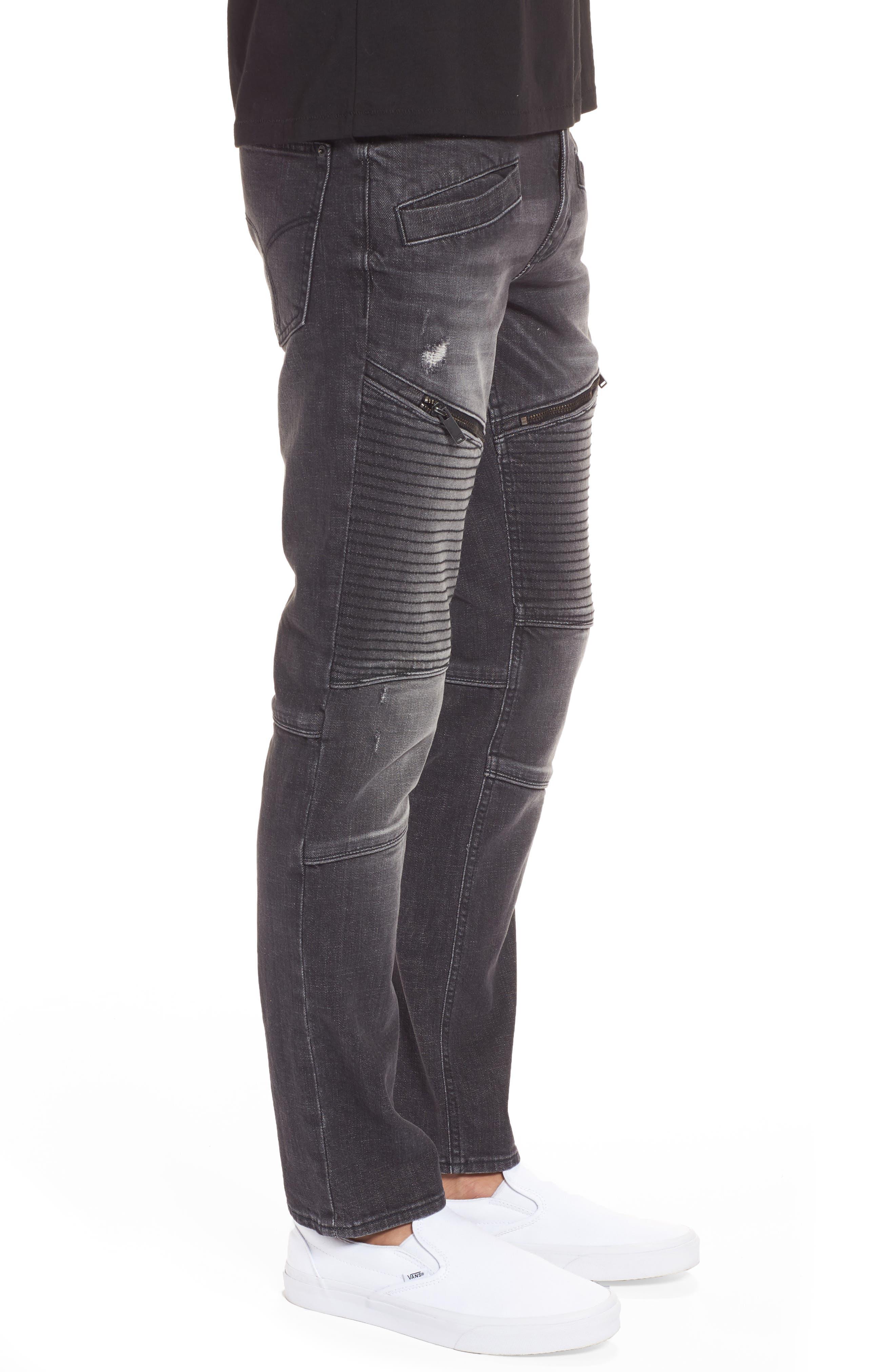 Biker Denim Jeans,                             Alternate thumbnail 3, color,                             Black