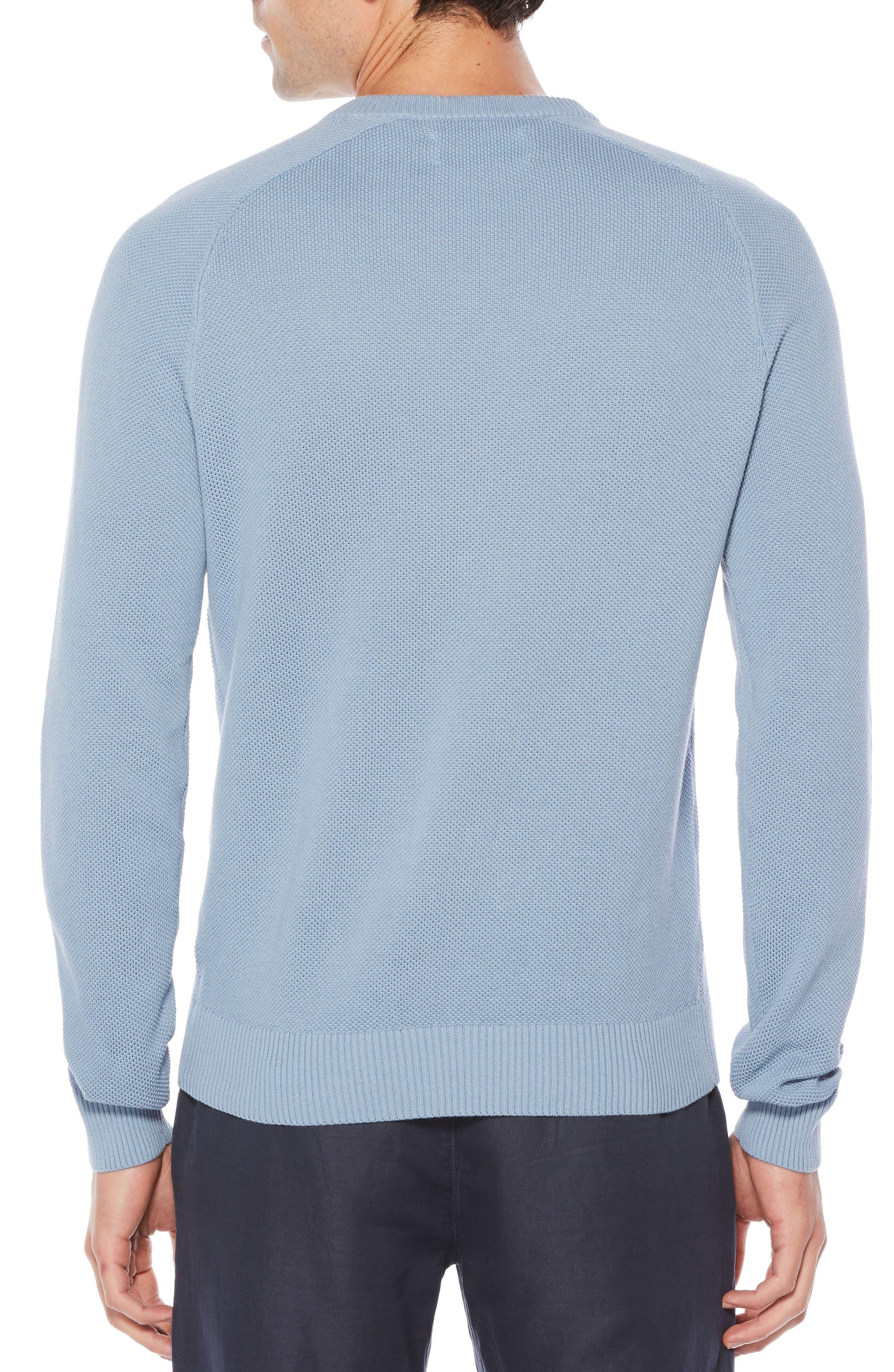 Piqué V-Neck Sweater,                             Alternate thumbnail 2, color,                             Steel Grey