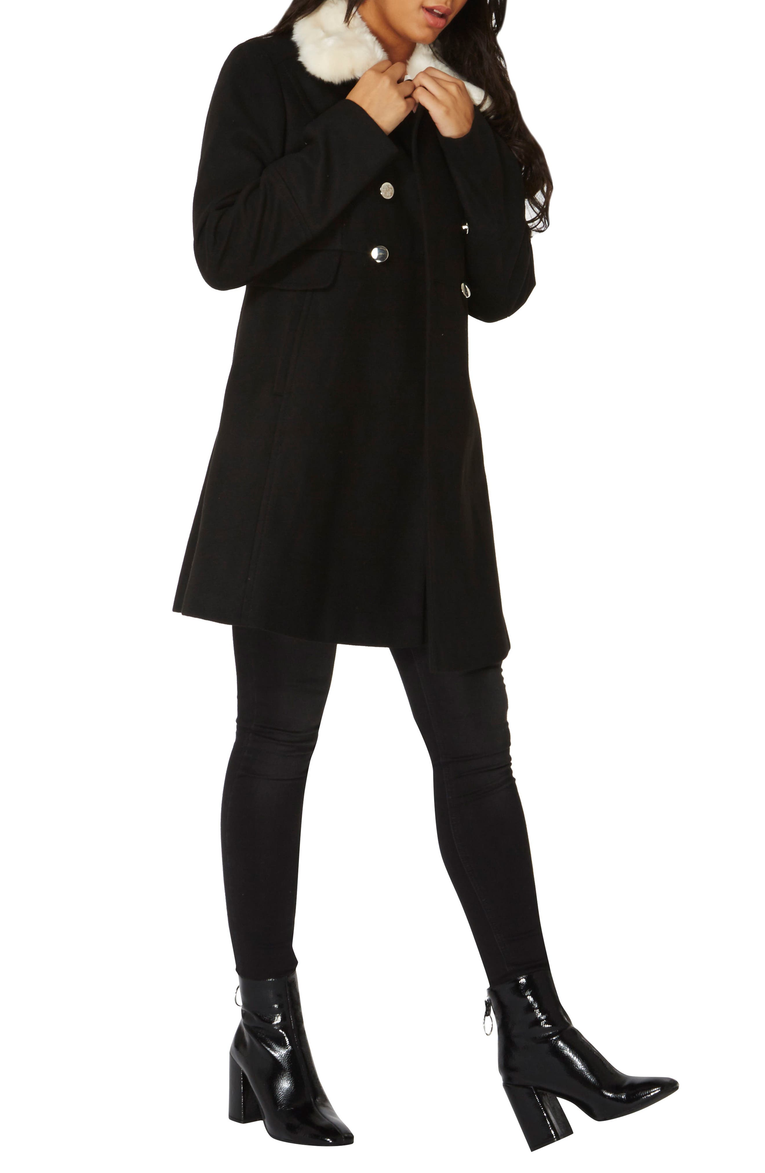 Fit & Flare Peacoat with Removable Faux Fur Trim,                             Alternate thumbnail 2, color,                             Black