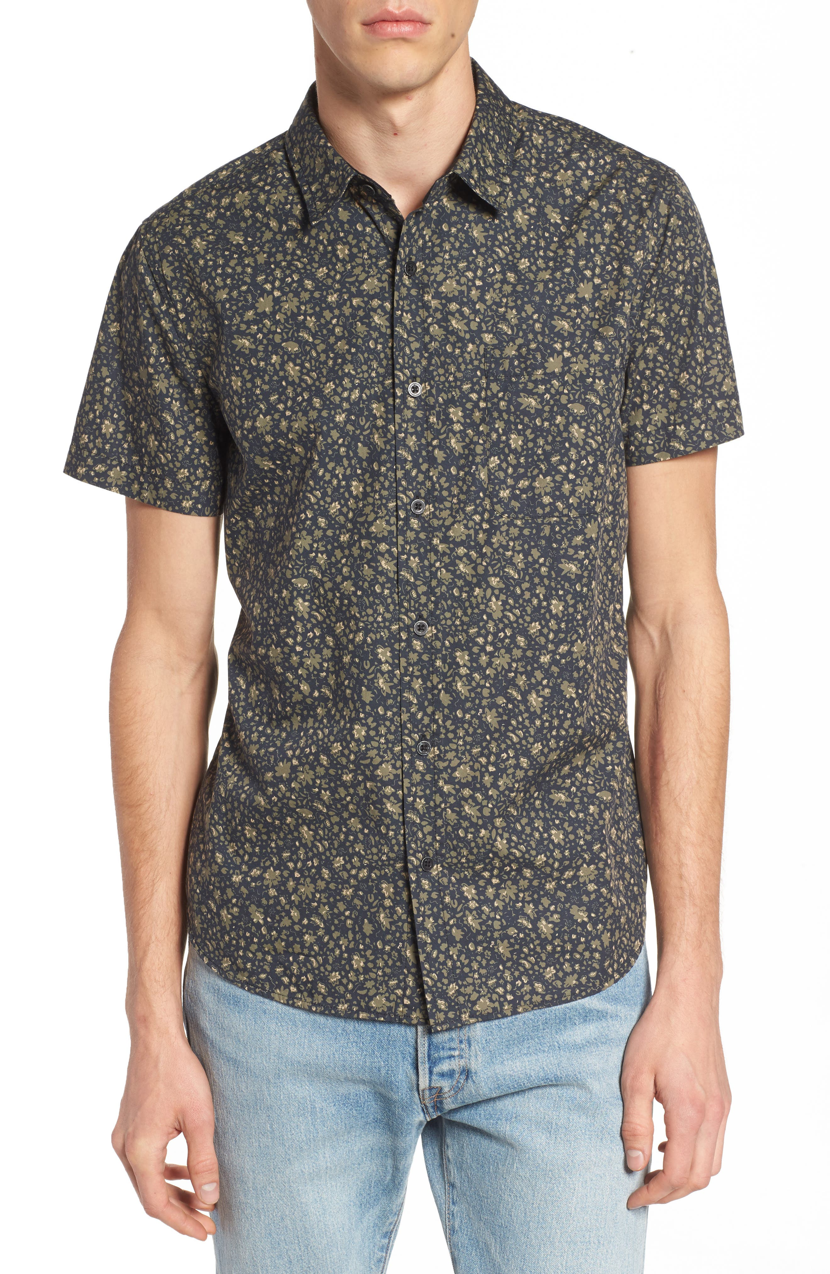 Nash Slim Fit Print Sport Shirt,                         Main,                         color, Floral Camo Black/ Ivy