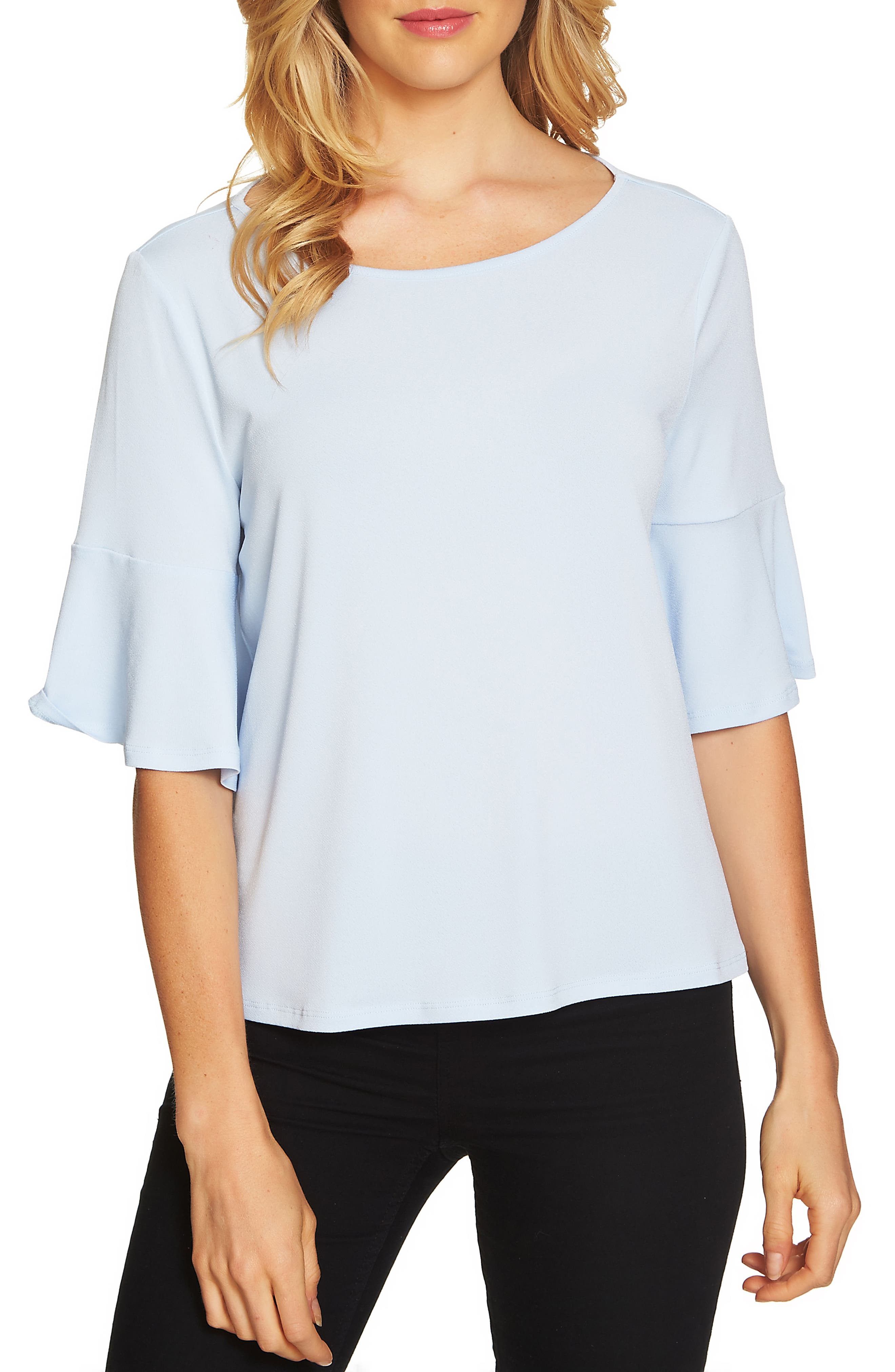 Ruffle Sleeve Crepe Knit Top,                         Main,                         color, Bluebird